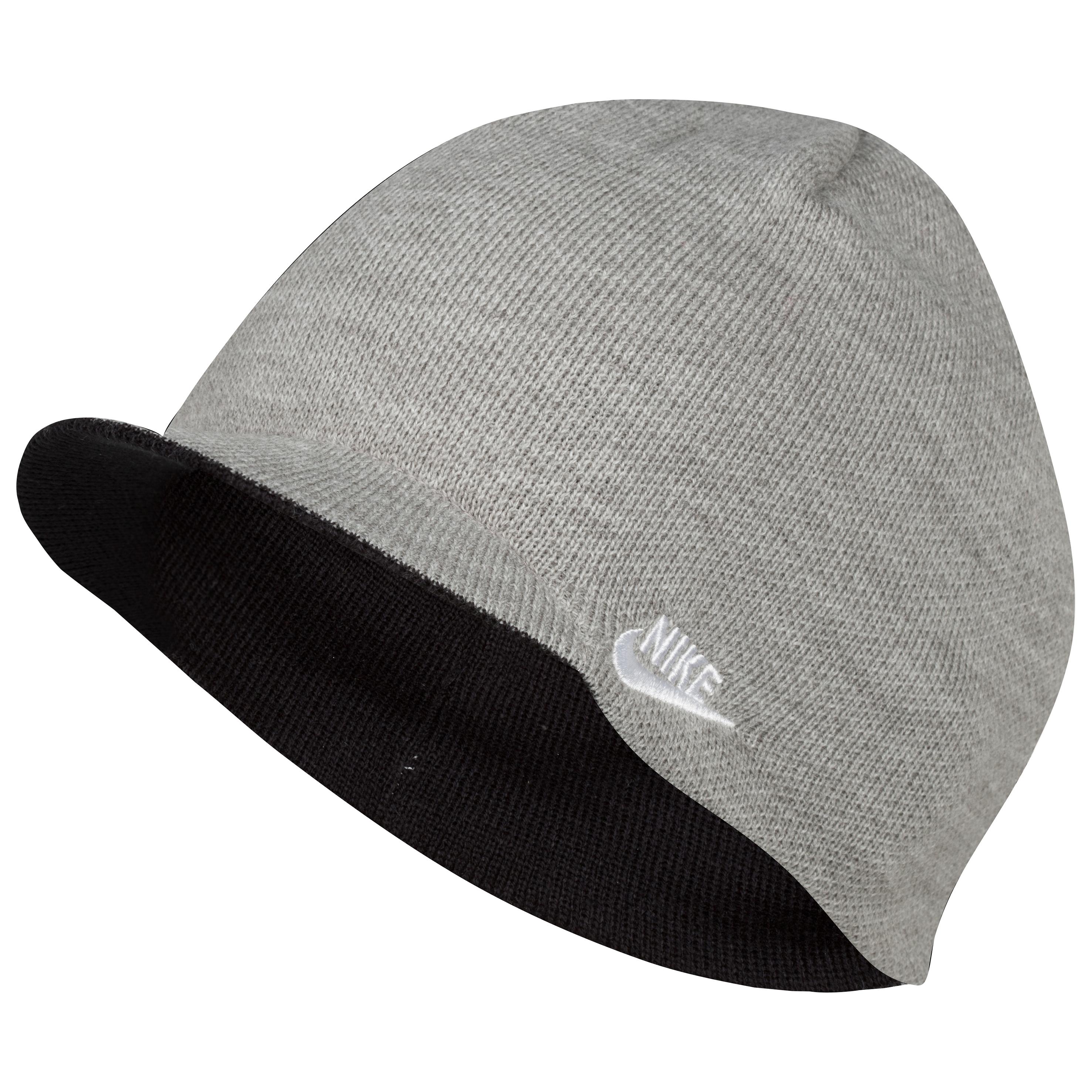 Nike Peaked Futura Beanie - Dark Grey Heather/Black/White