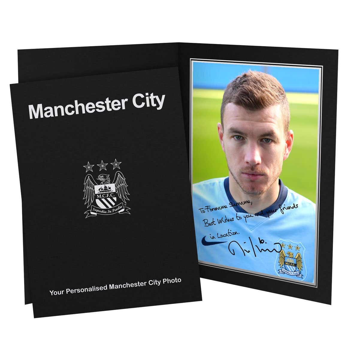 Manchester City Personalised Signature Photo in Presentation Folder - Edin Dzeko