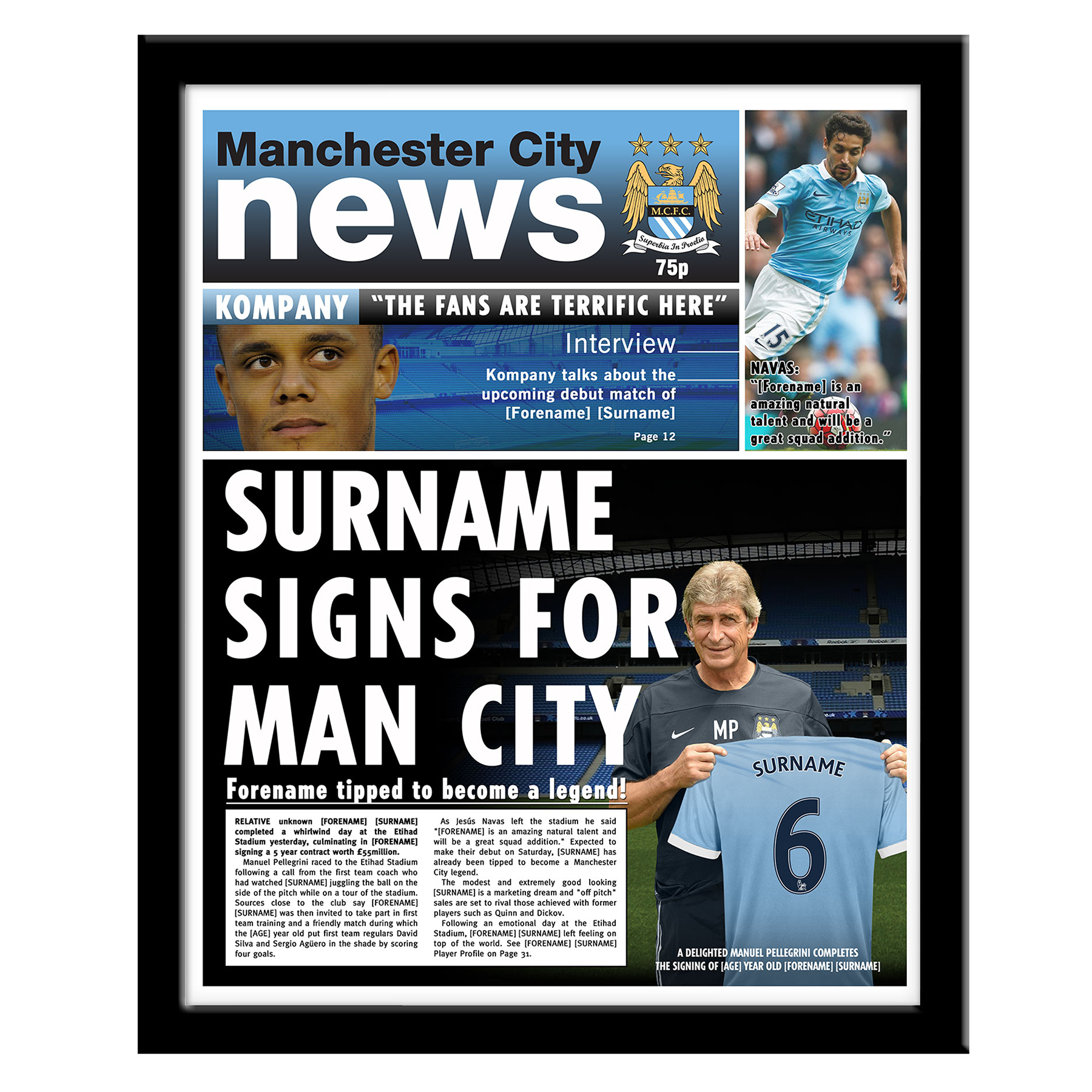 Manchester City Personalised Newspaper - Framed