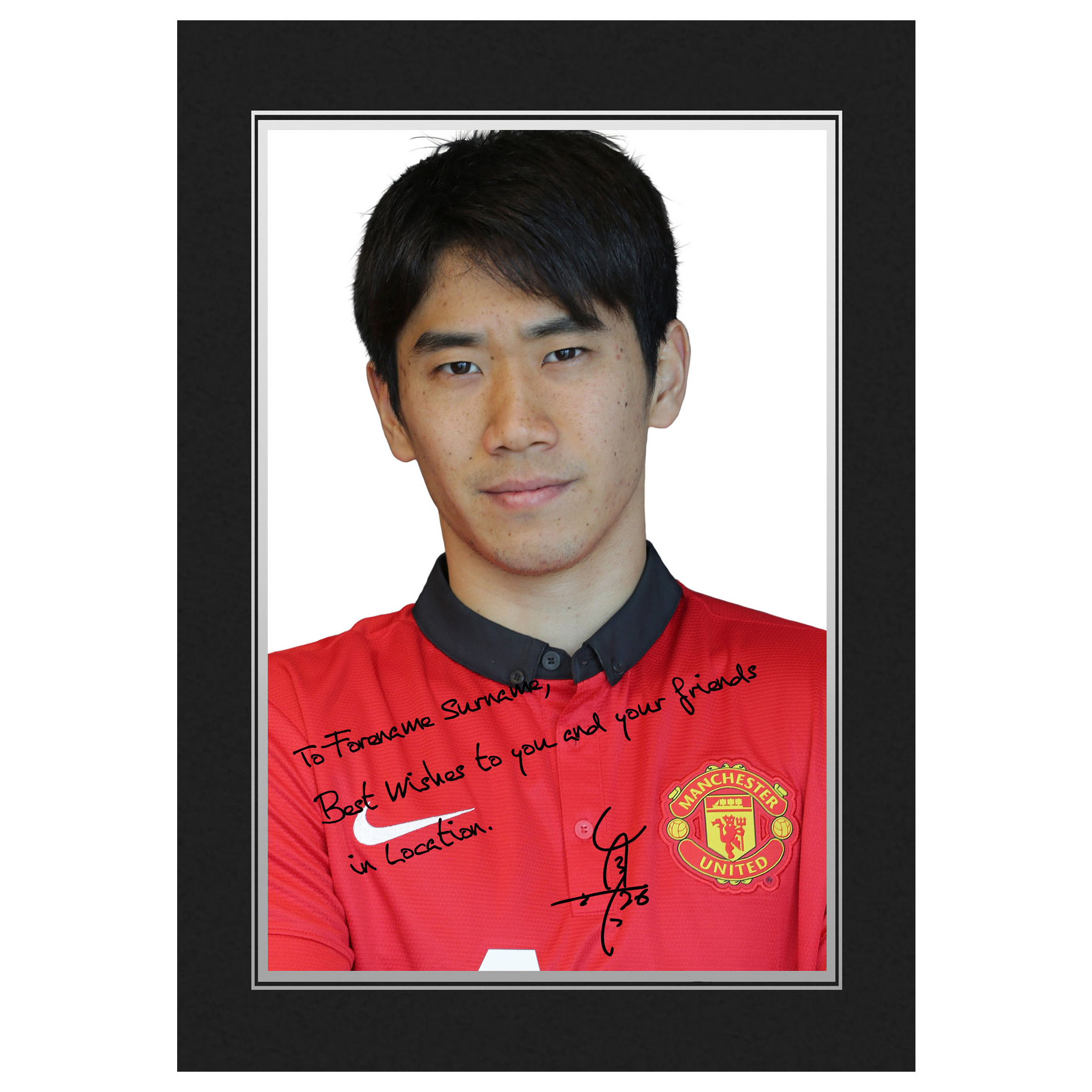 Manchester United Personalised Signature Photo in Presentation Folder - Kagawa