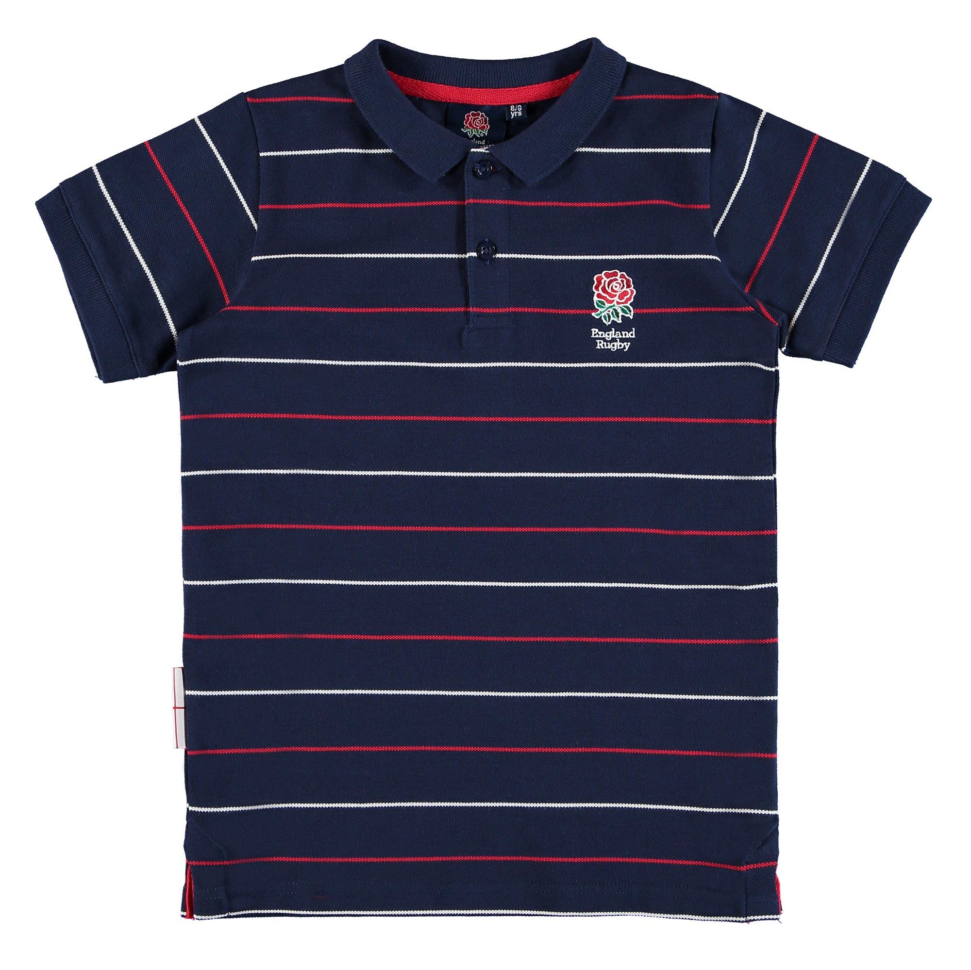 "Image of ""England Classic Pinstripe Pique Polo - Navy - Boys"""