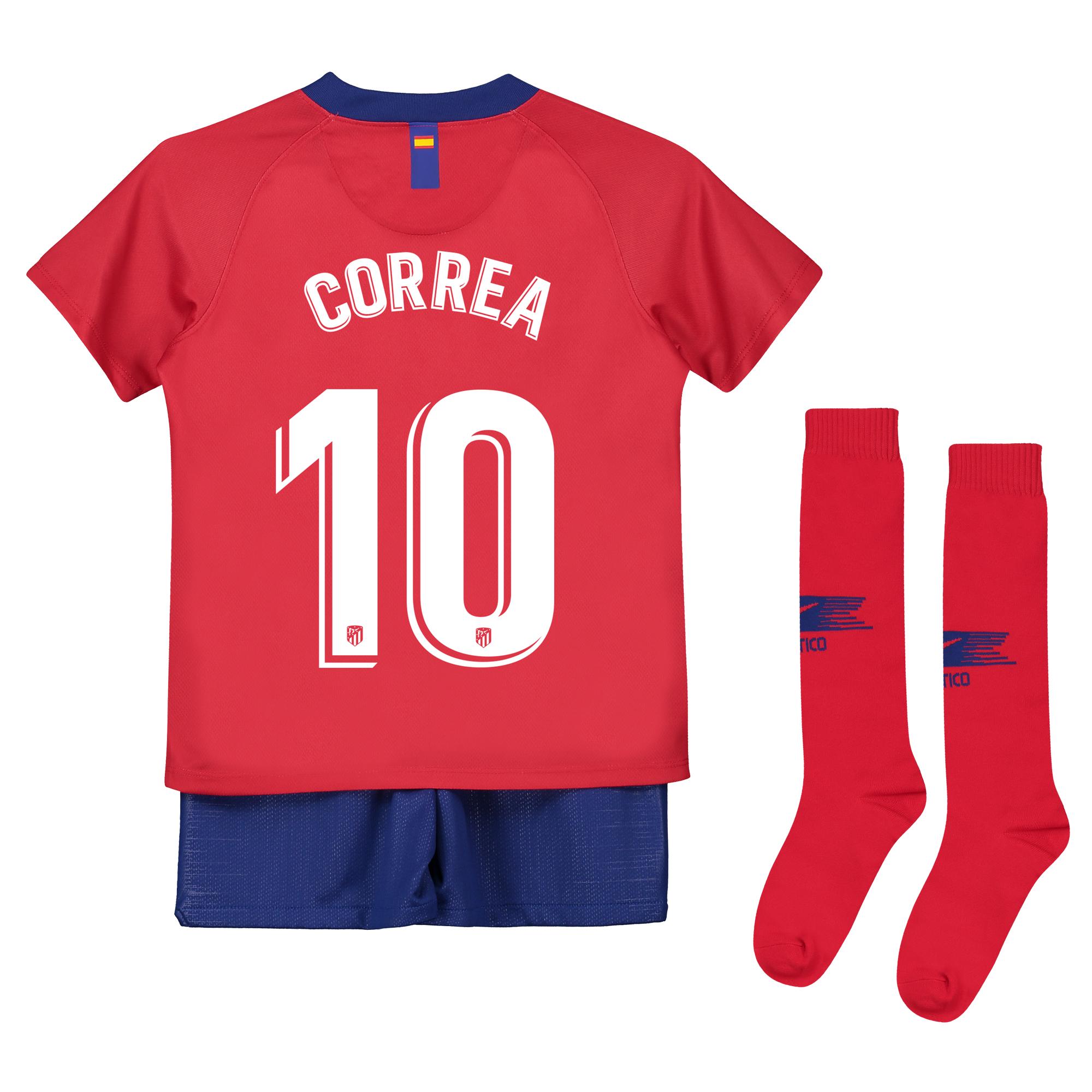 Conjunto de la 1ª equipación Stadium del Atlético de Madrid 2018-19 - Niño pequeño dorsal Correa 10