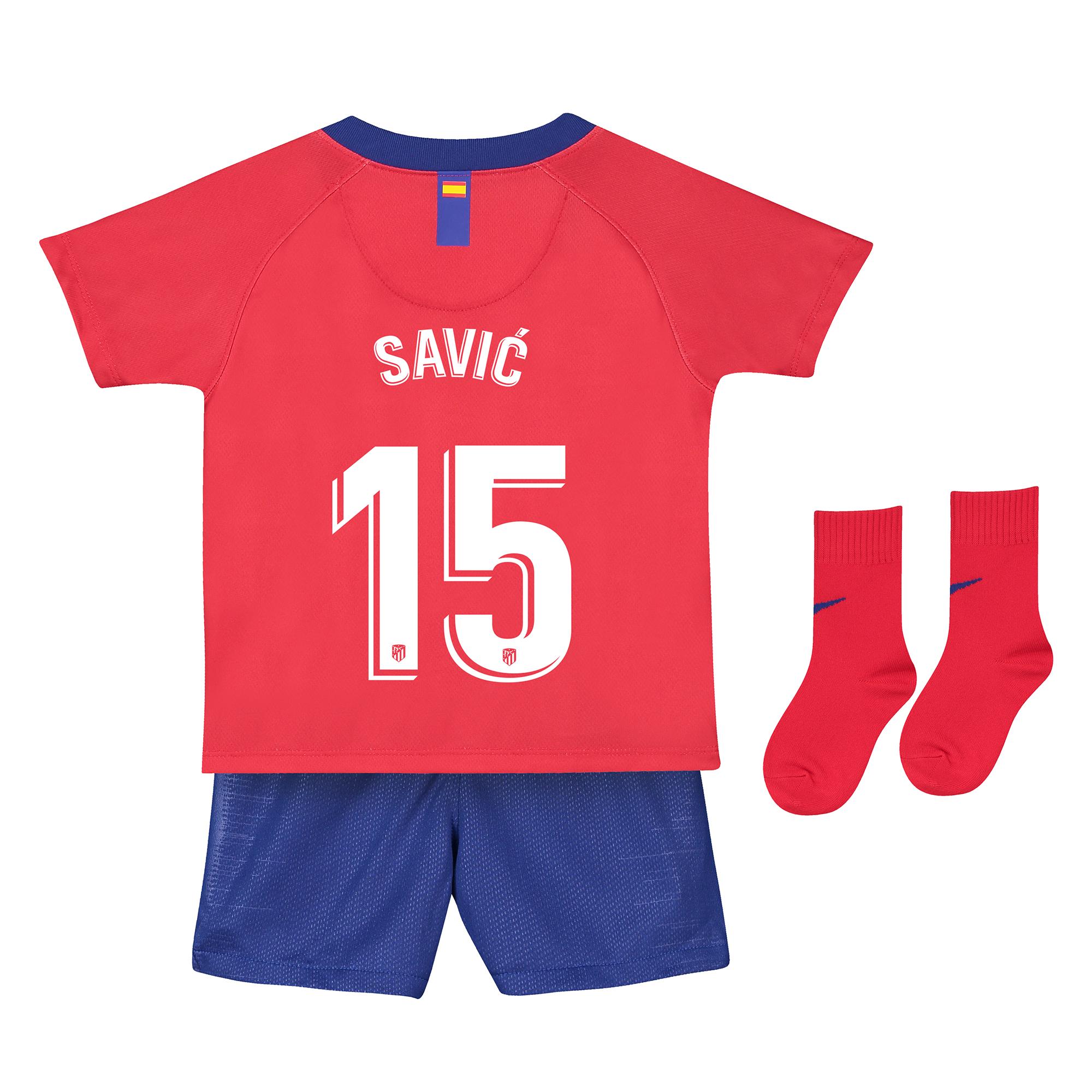 Conjunto de la 1ª equipación Stadium del Atlético de Madrid 2018-19 - Bebé dorsal Savic 15