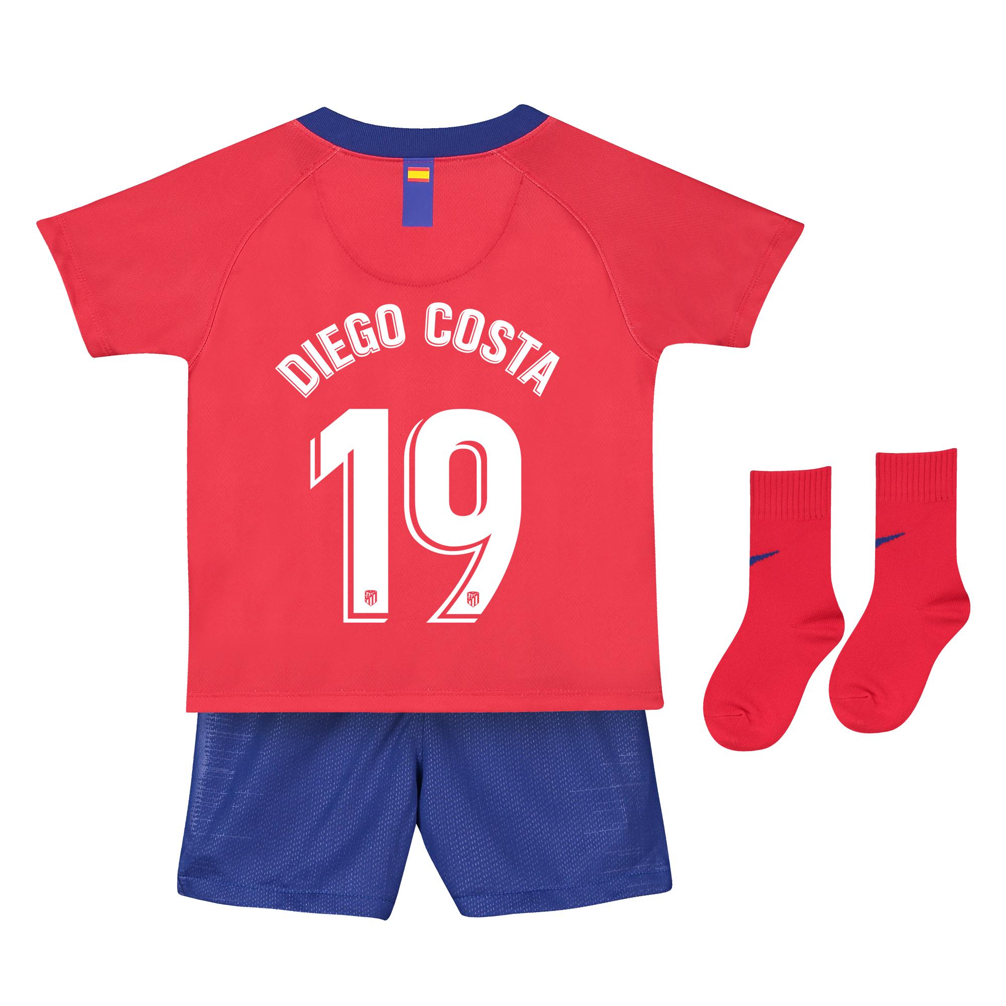 Conjunto de la 1ª equipación Stadium del Atlético de Madrid 2018-19 - Bebé dorsal Diego Costa 19