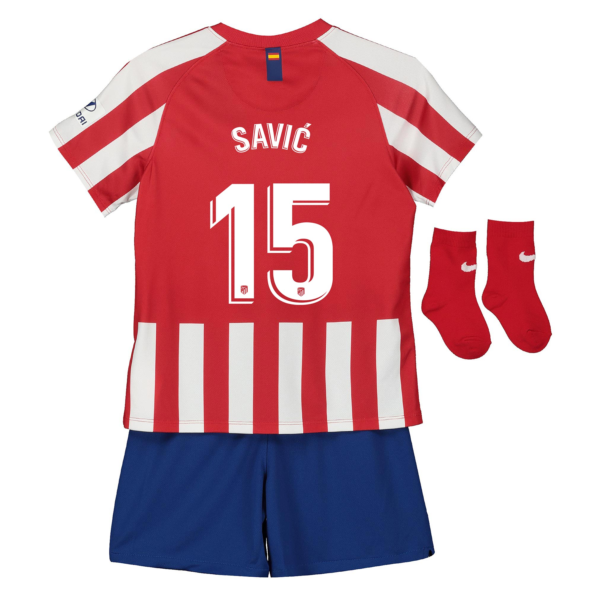 Nike / Conjunto de la 1ª equipación Stadium del Atlético de Madrid 2019-20 - Bebé dorsal Savic 15
