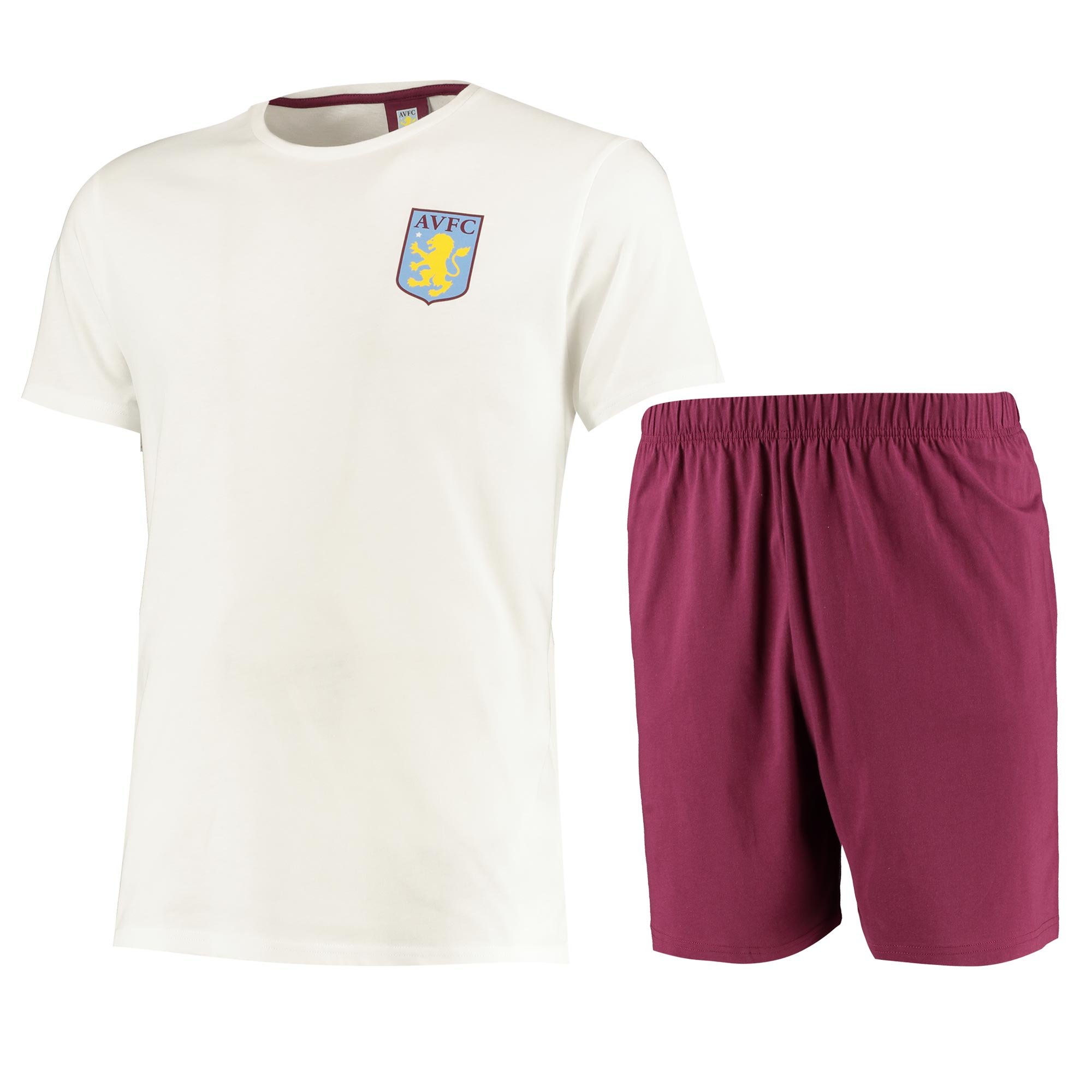 Aston Villa T-Shirt and Shorts Pyjama Set - White/Claret - Mens
