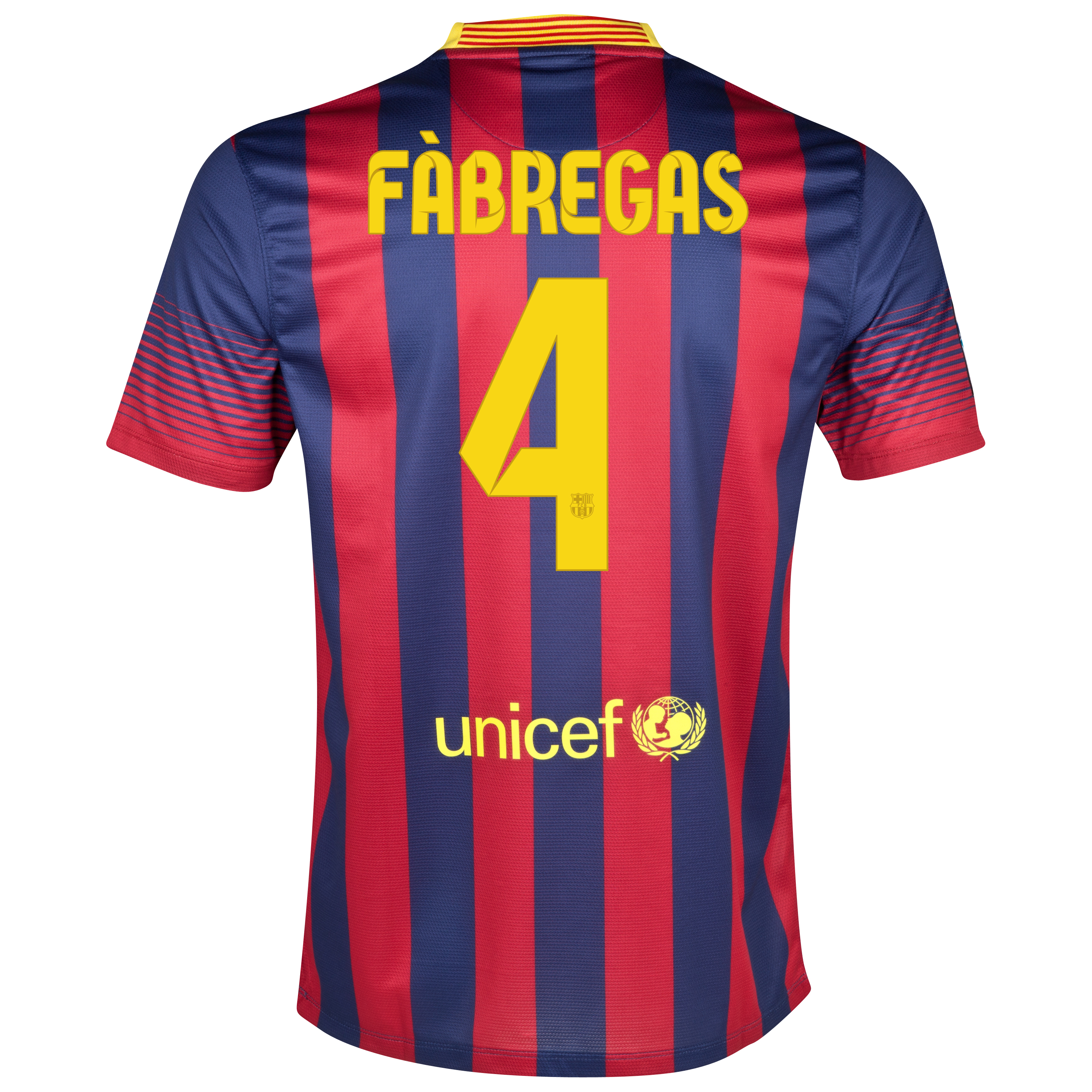 Barcelona Home Shirt 2013/14 - Kids with Fabregas 4 printing