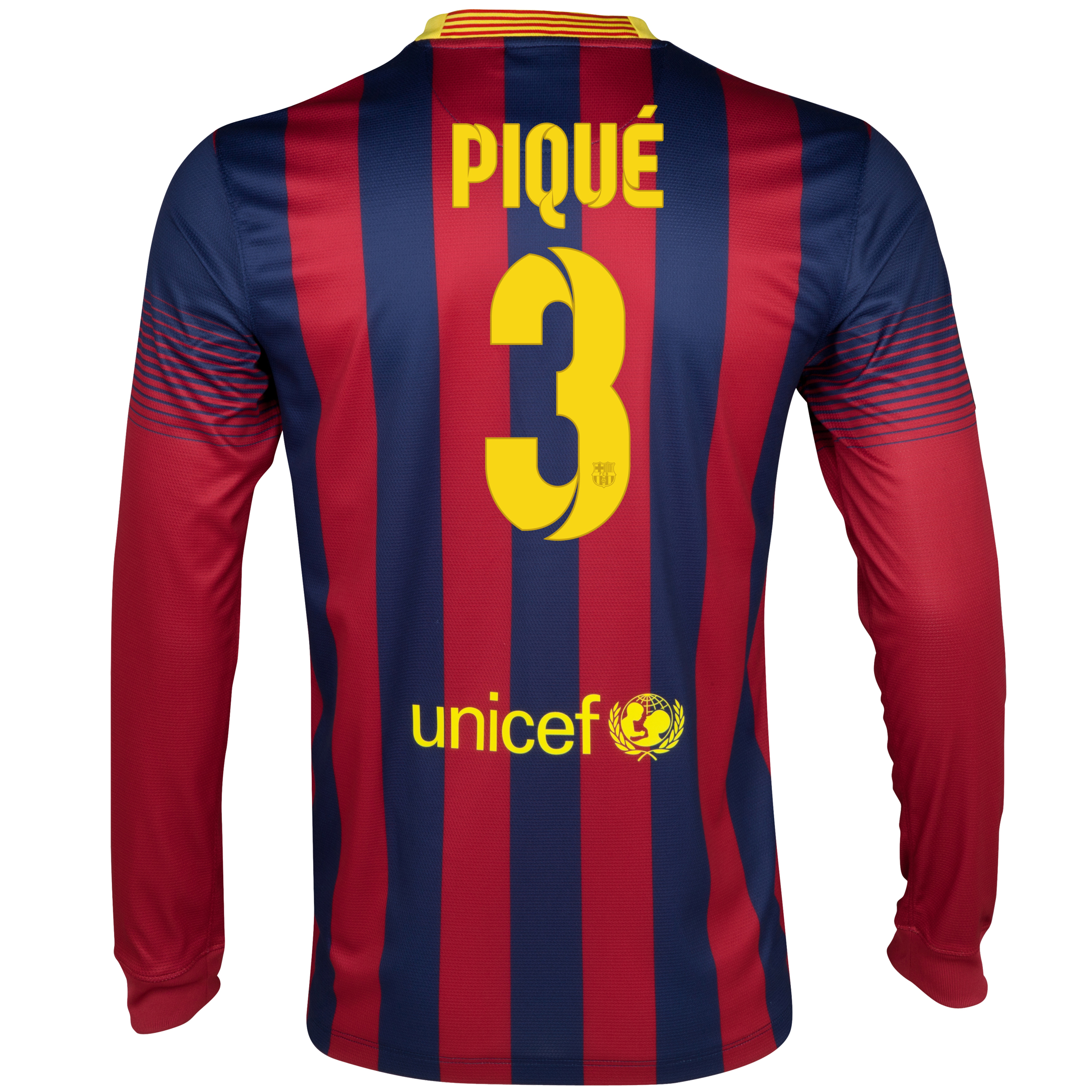 Barcelona Home Shirt 2013/14 - Long Sleeved with Pique 3 printing