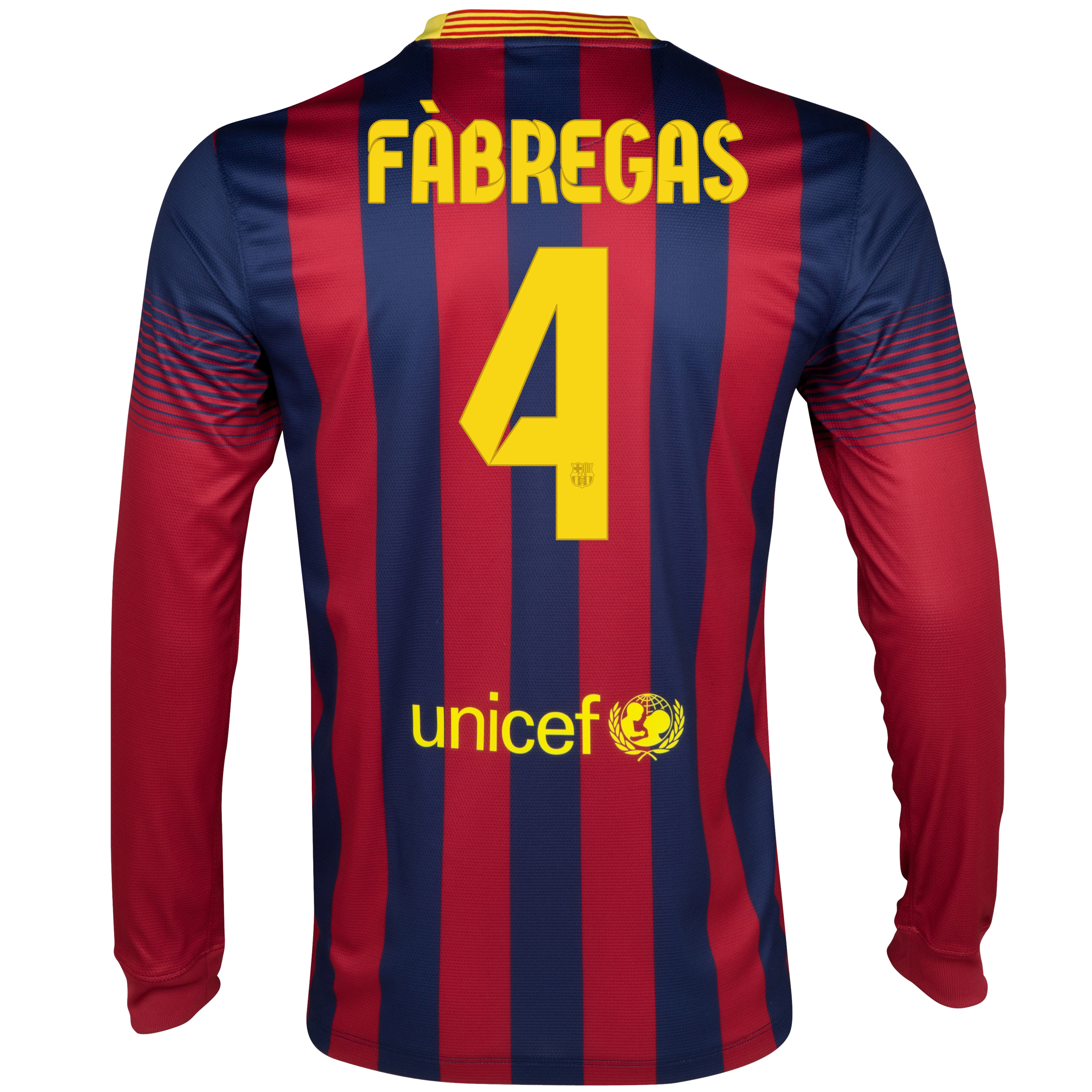 Barcelona Home Shirt 2013/14 - Long Sleeved with Fabregas 4 printing