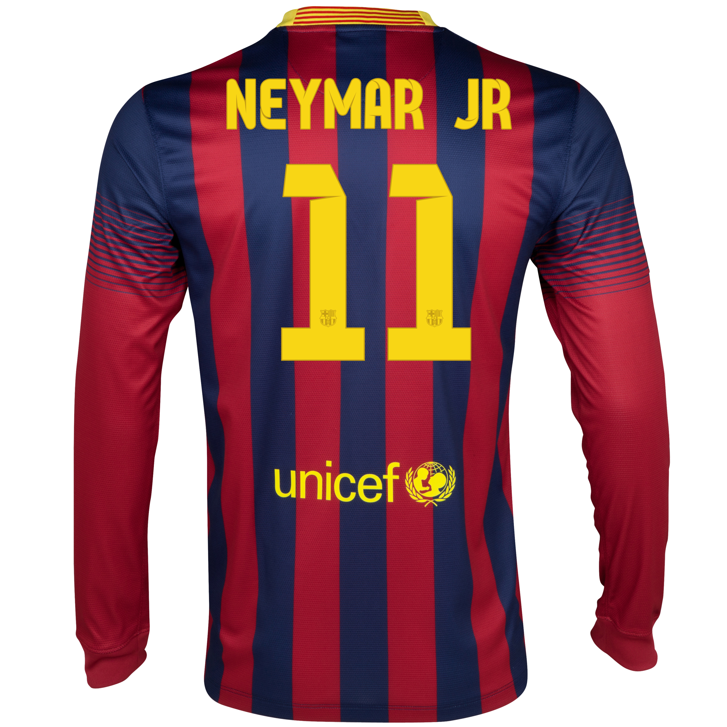 Barcelona Home Shirt 2013/14 - Long Sleeved with Neymar Jr 11 printing