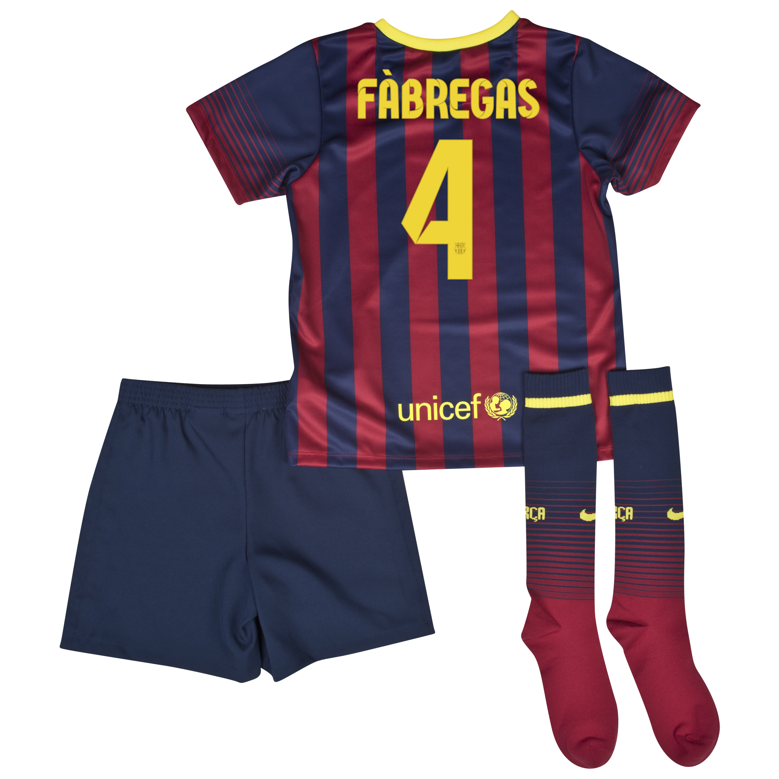 Barcelona Home Kit 2013/14 - Little Boys with Fabregas 4 printing