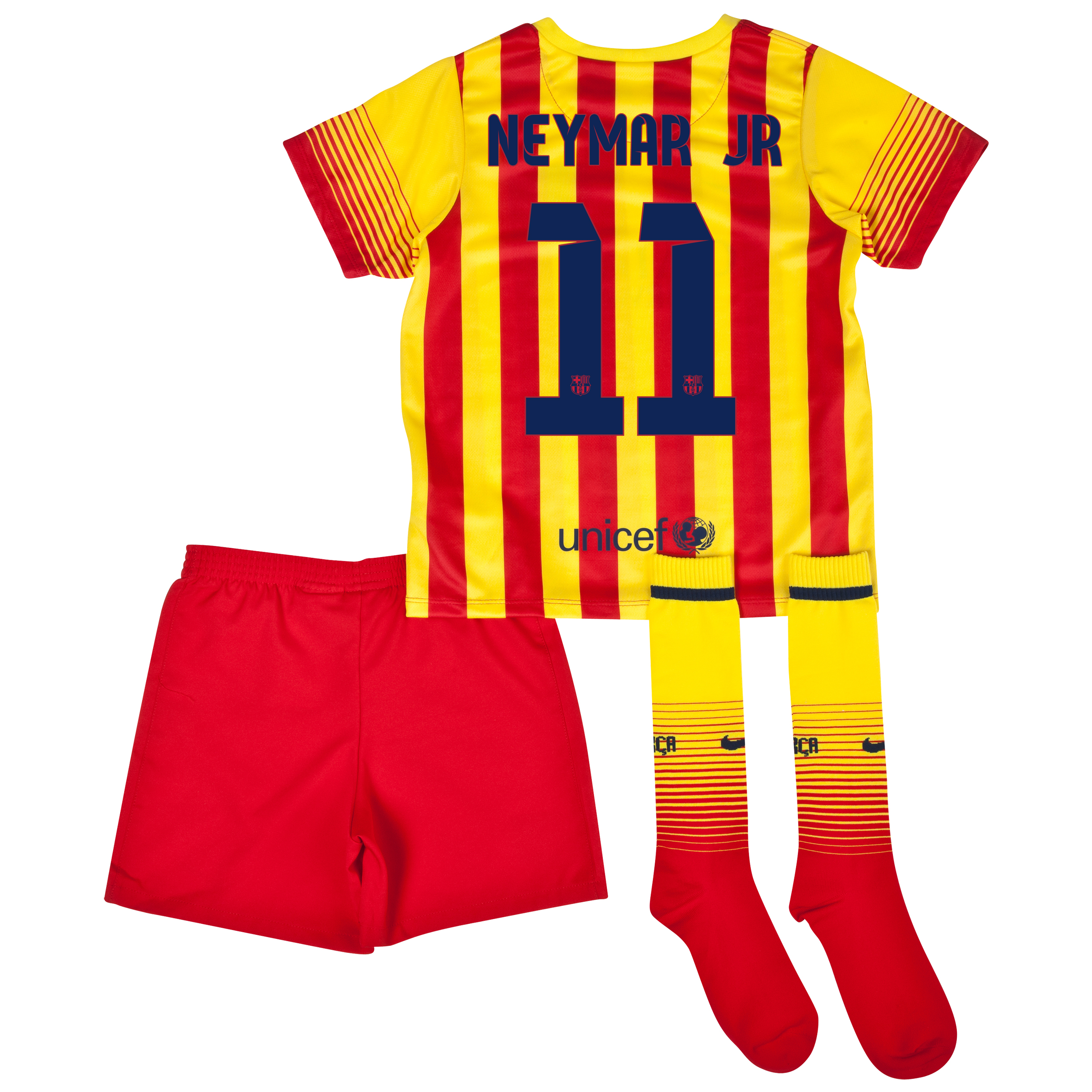Barcelona Away Kit 2013/14 - Little Boys with Neymar Jr 11 printing
