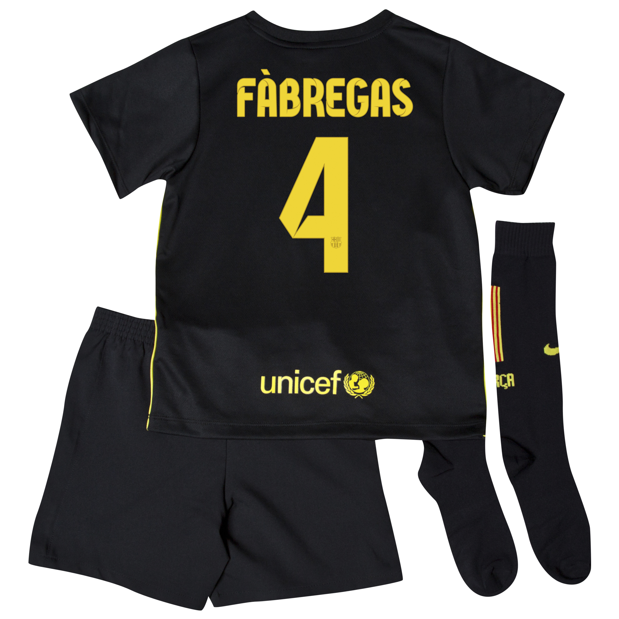 Barcelona Third Kit 2013/14 - Little Boys with Fabregas 4 printing