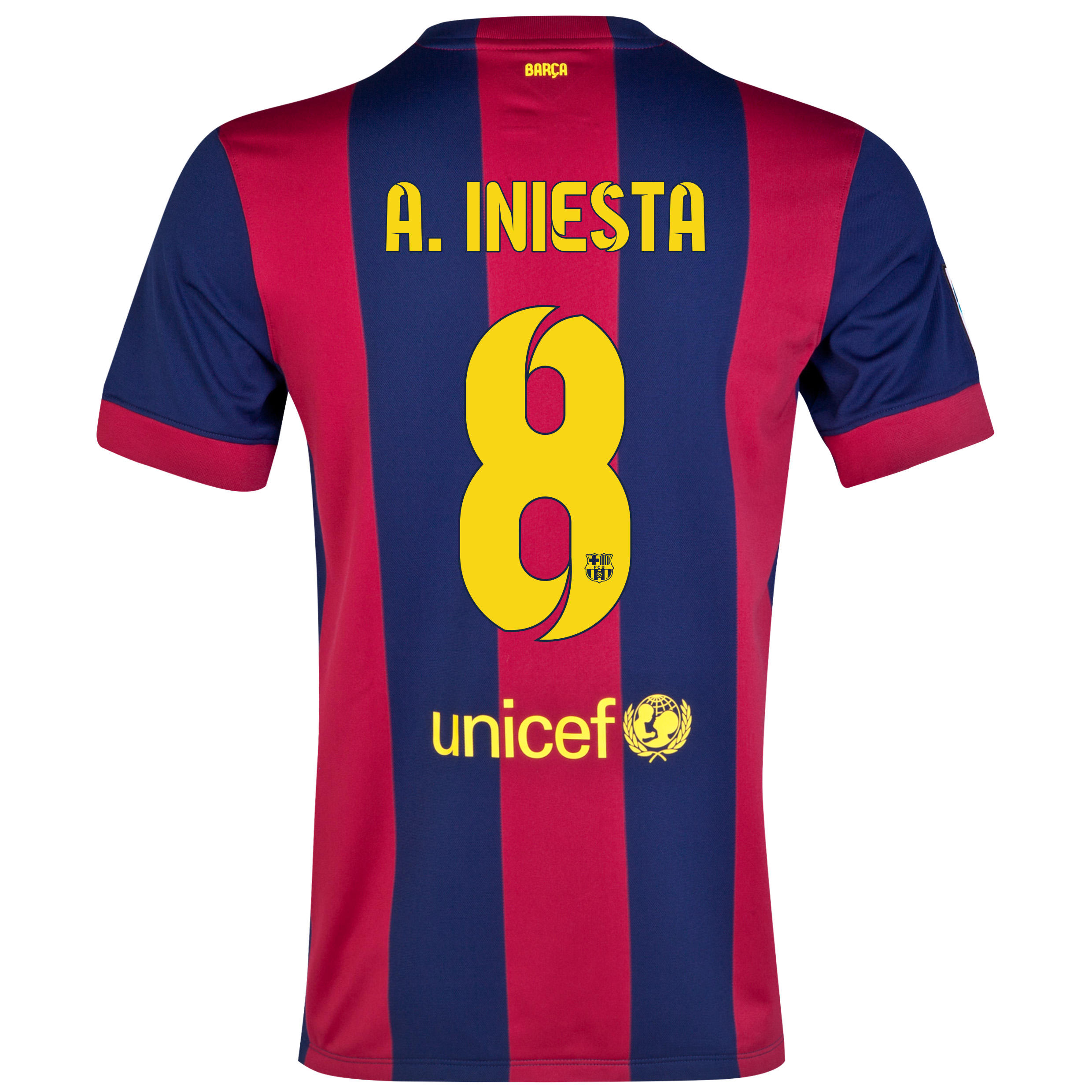 Barcelona Home Shirt 2014/15 Blue with A. Iniesta  8 printing