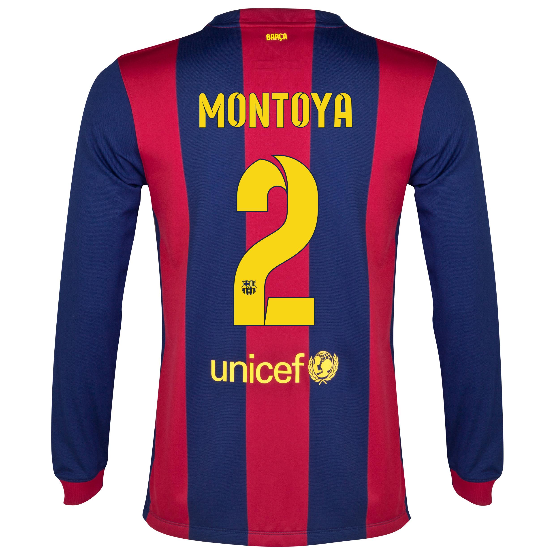 Barcelona Home Shirt 2014/15 - Long Sleeve Blue with Montoya 2 printing