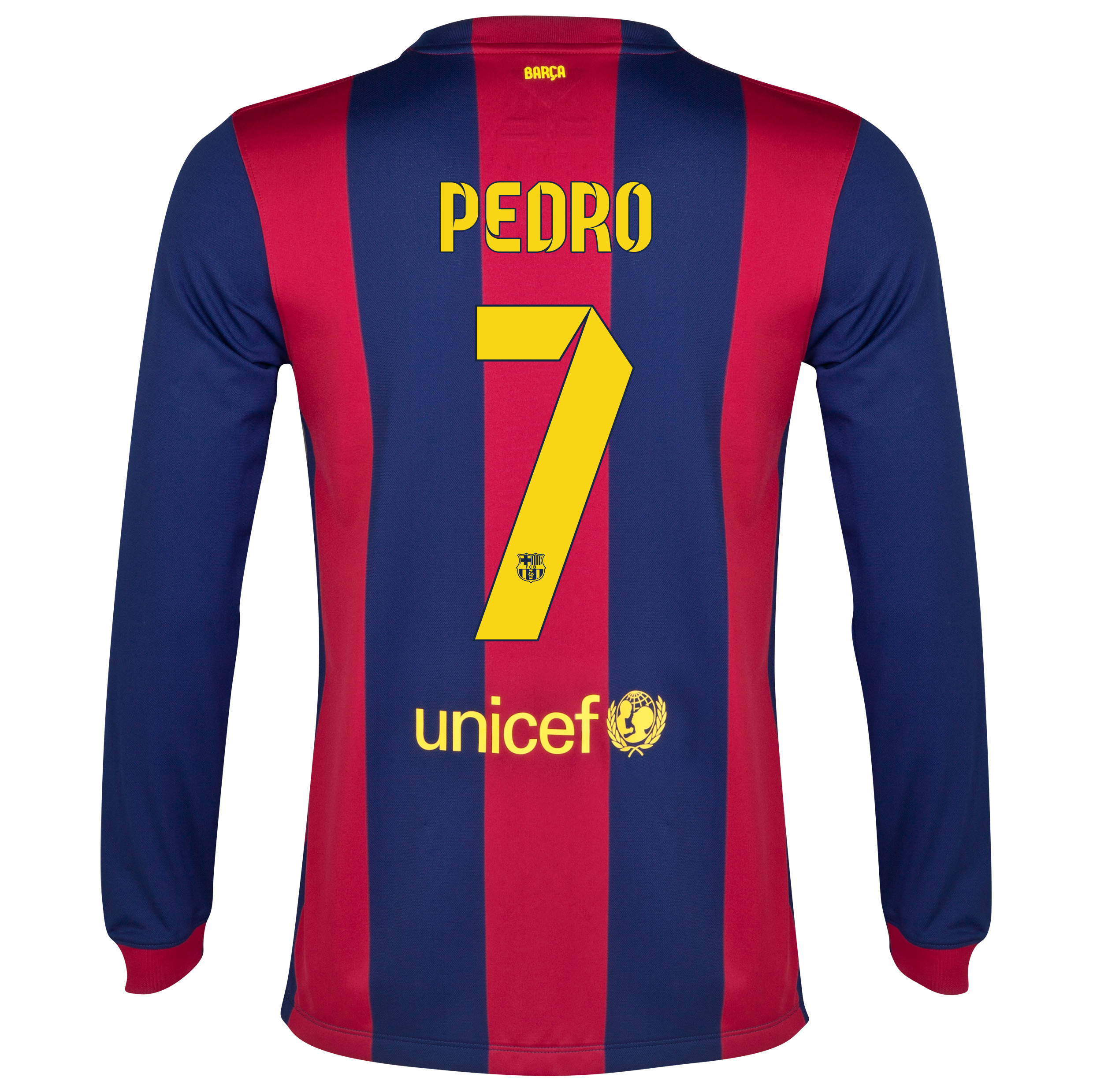 Barcelona Home Shirt 2014/15 - Long Sleeve Blue with Pedro 7 printing