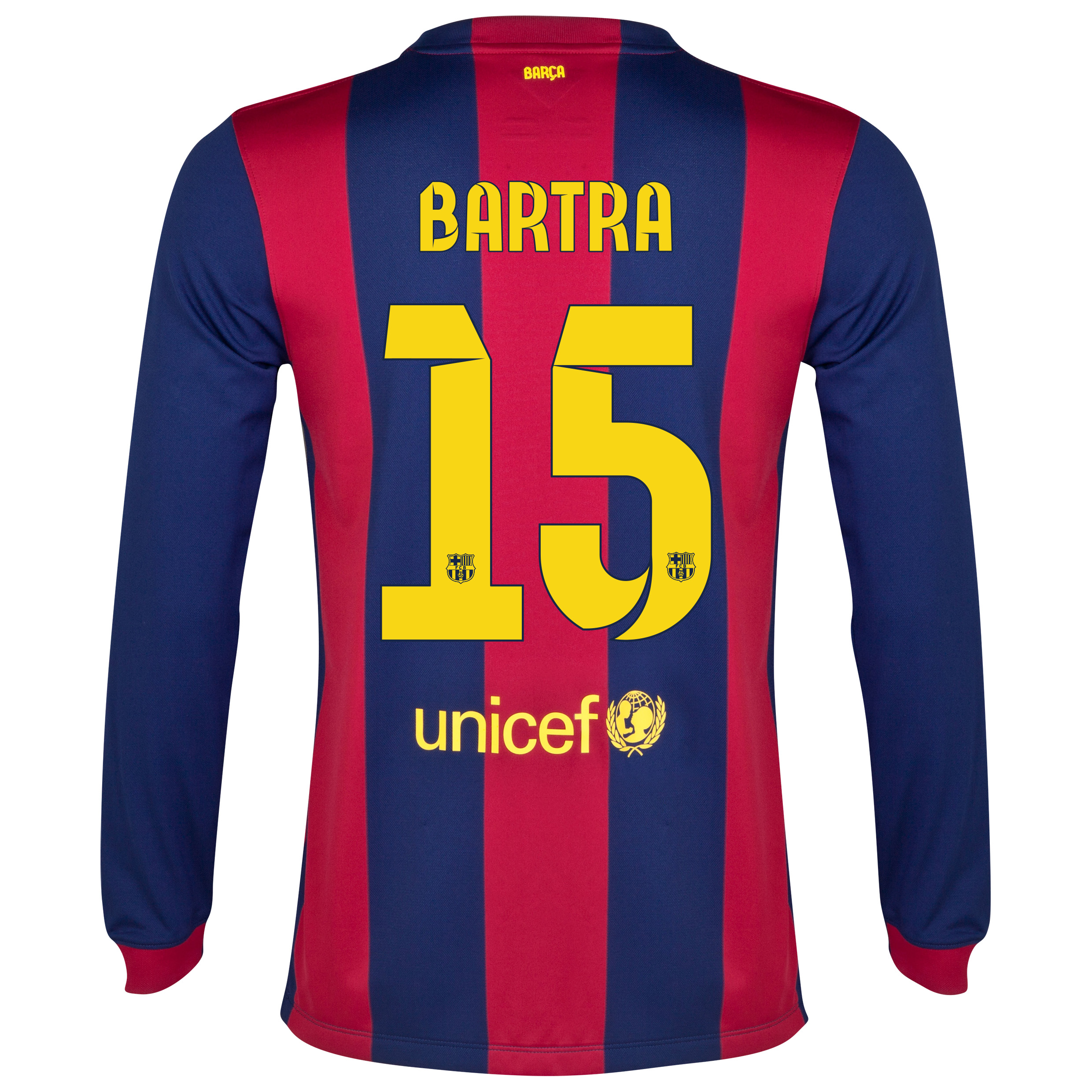Barcelona Home Shirt 2014/15 - Long Sleeve Blue with Bartra 15 printing
