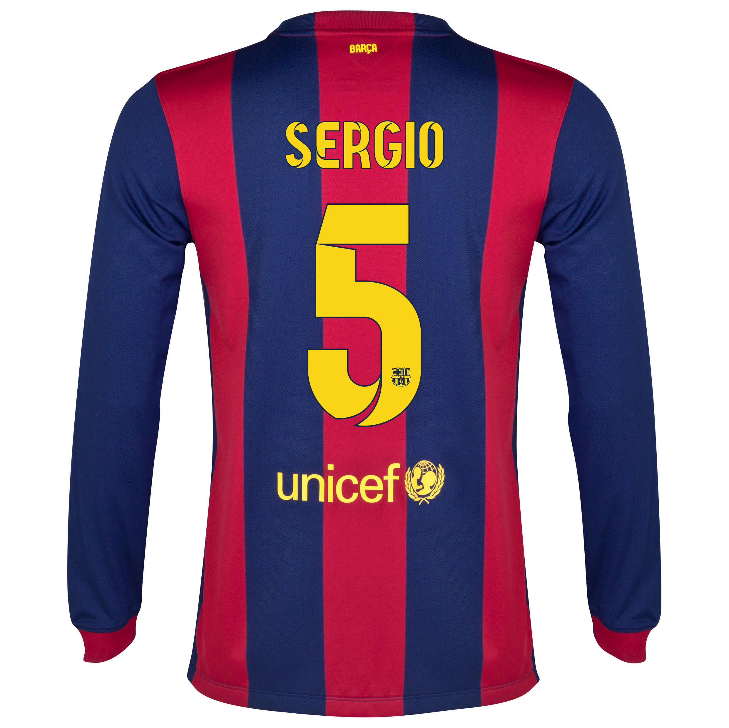 Barcelona Home Shirt 2014/15 - Long Sleeve Blue with Sergio 5 printing