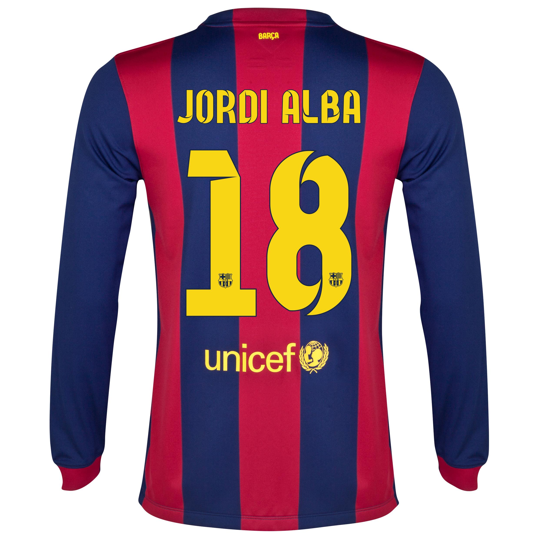 Barcelona Home Shirt 2014/15 - Long Sleeve Blue with Jordi Alba 18 printing