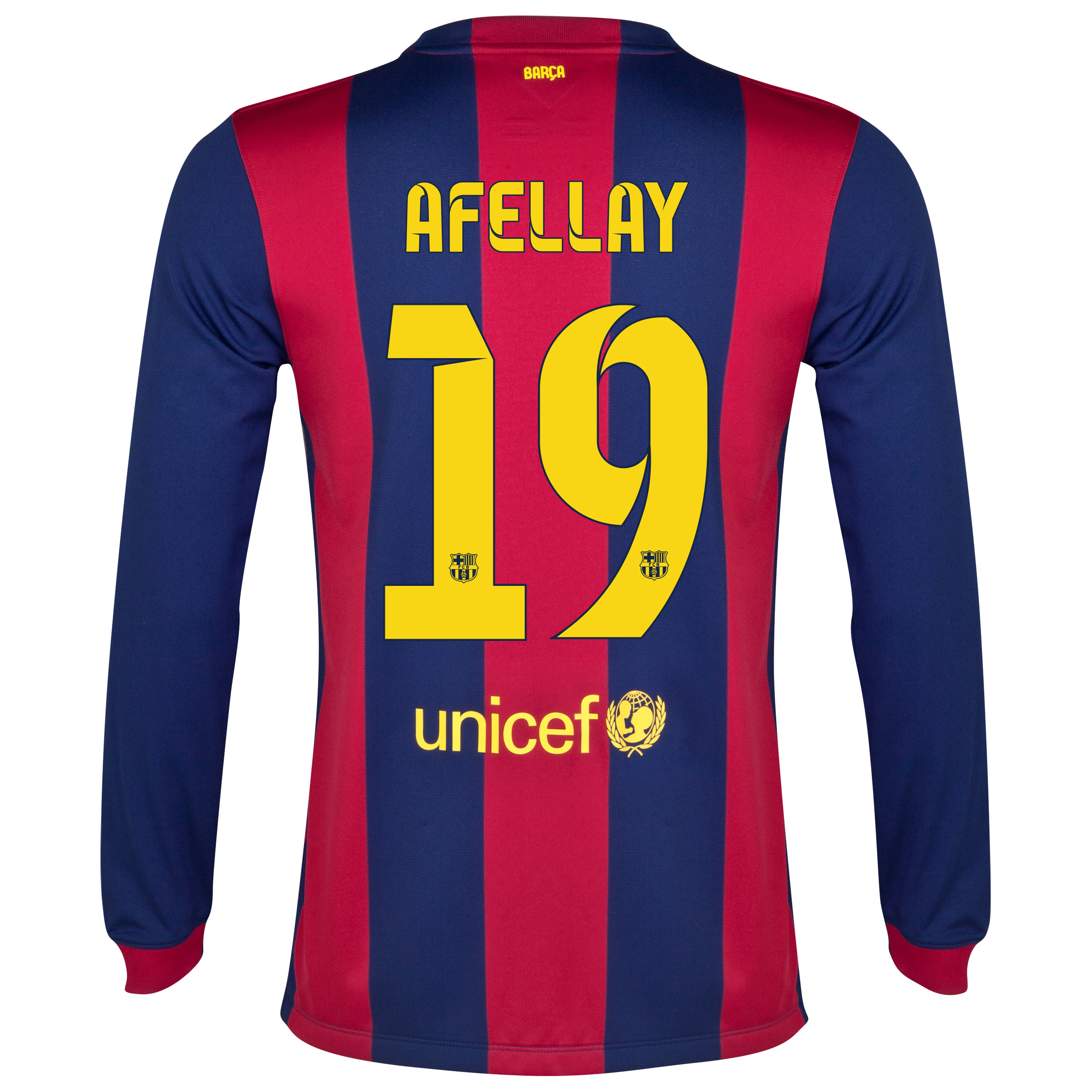 Barcelona Home Shirt 2014/15 - Long Sleeve Blue with Afellay 19 printing