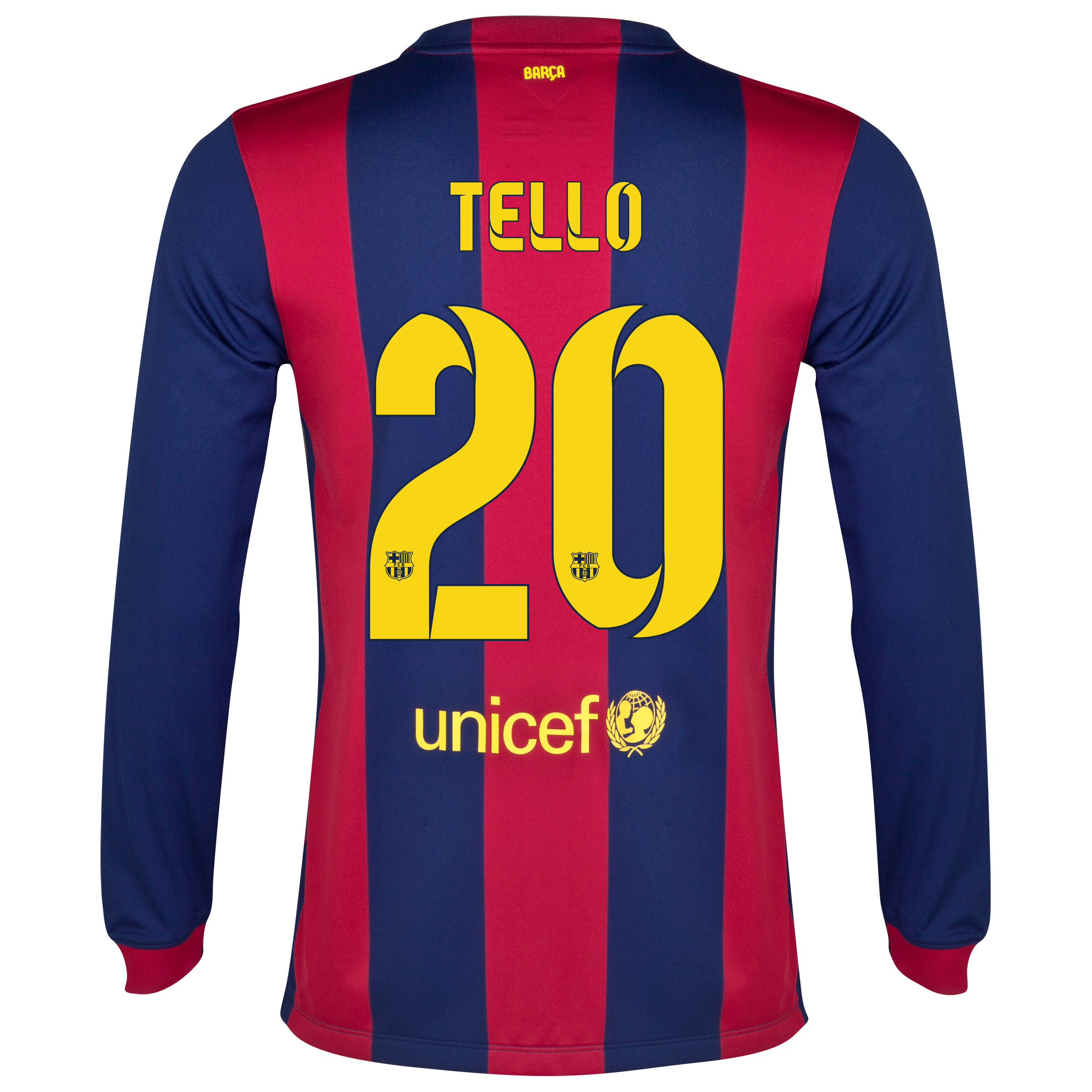 Barcelona Home Shirt 2014/15 - Long Sleeve Blue with Tello 20 printing