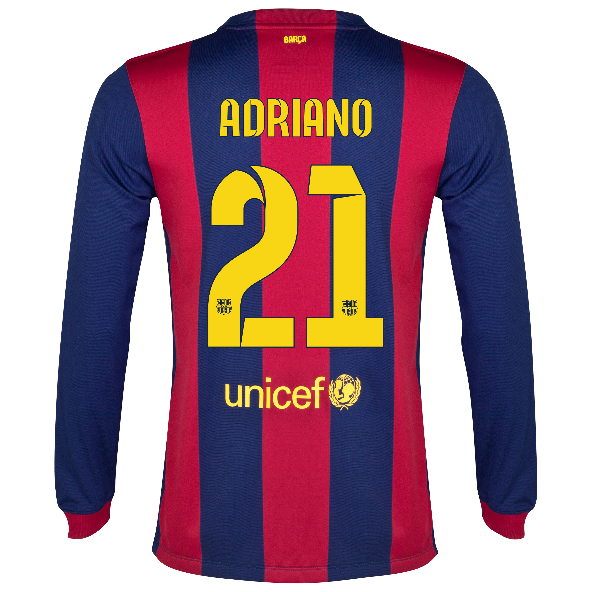 Barcelona Home Shirt 2014/15 - Long Sleeve Blue with Adriano 21 printing