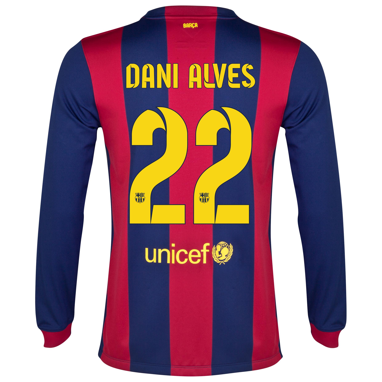 Barcelona Home Shirt 2014/15 - Long Sleeve Blue with Dani Alves 22 printing