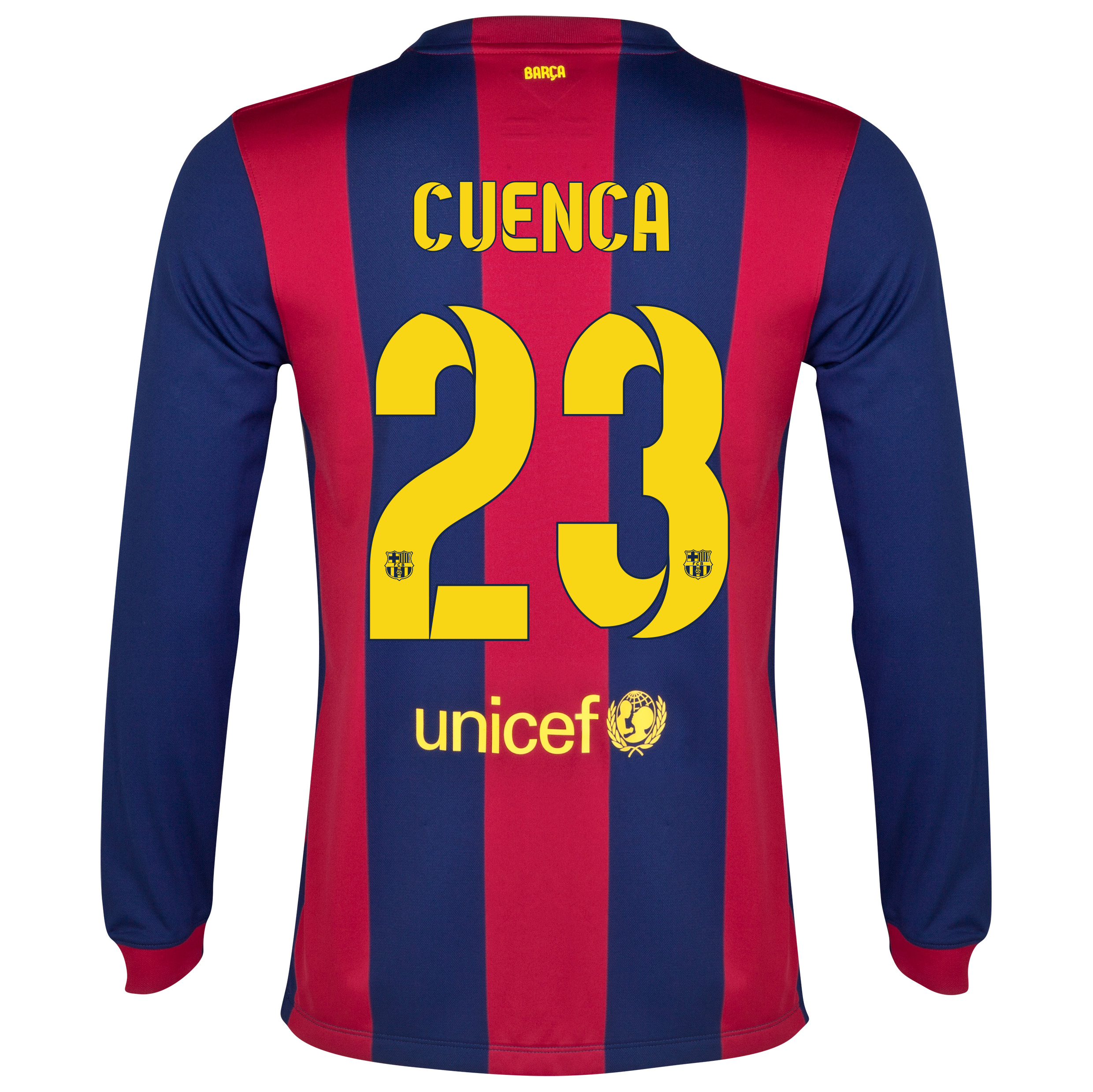 Barcelona Home Shirt 2014/15 - Long Sleeve Blue with Cuenca 23 printing