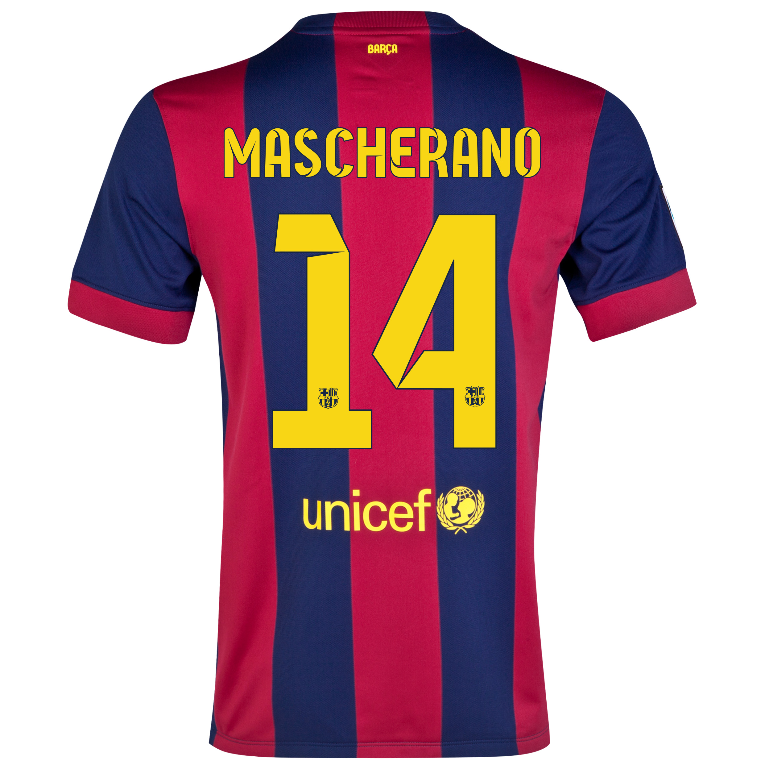 Barcelona Home Shirt 2014/15 - Kids Blue with Mascherano 14 printing
