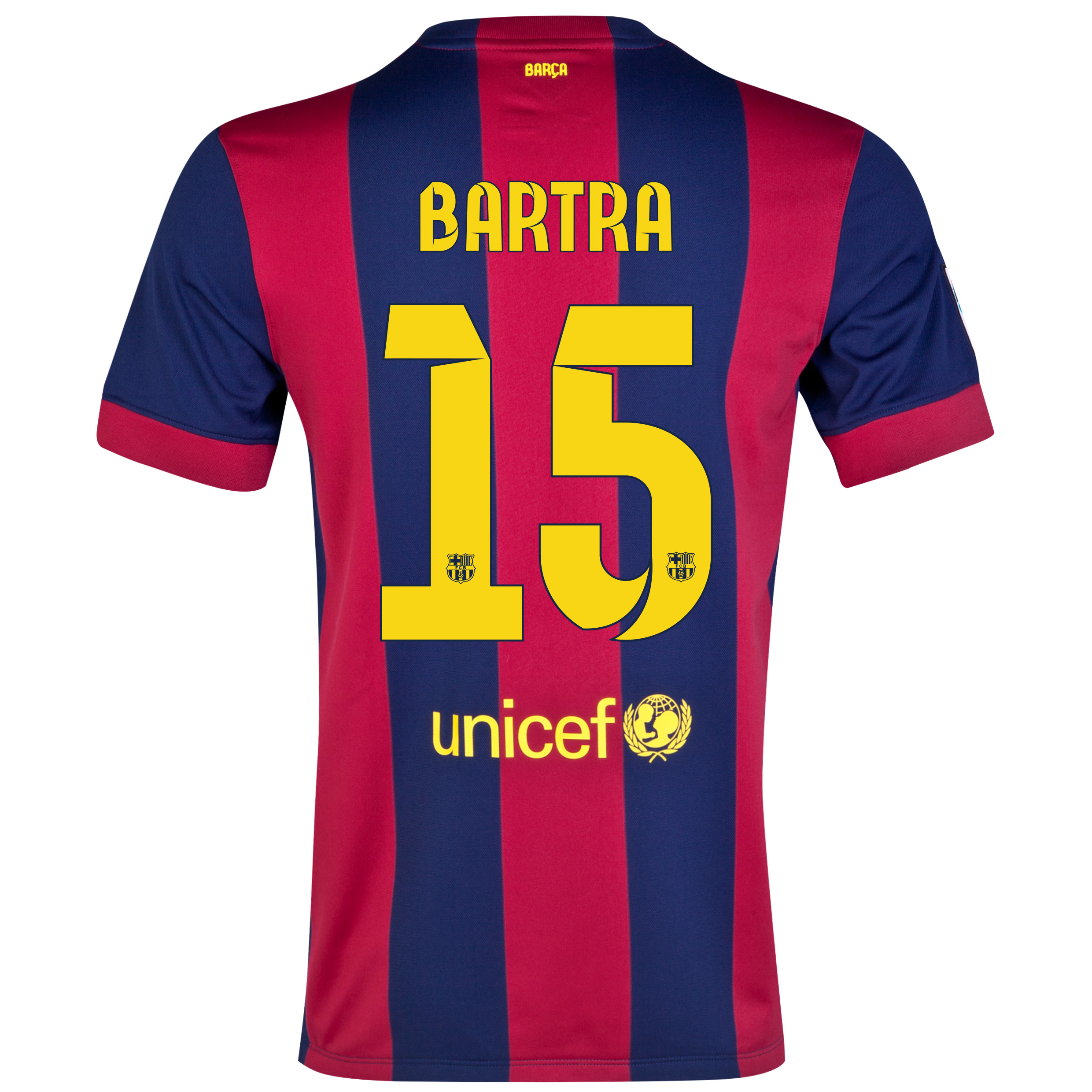 Barcelona Home Shirt 2014/15 - Kids Blue with Bartra 15 printing