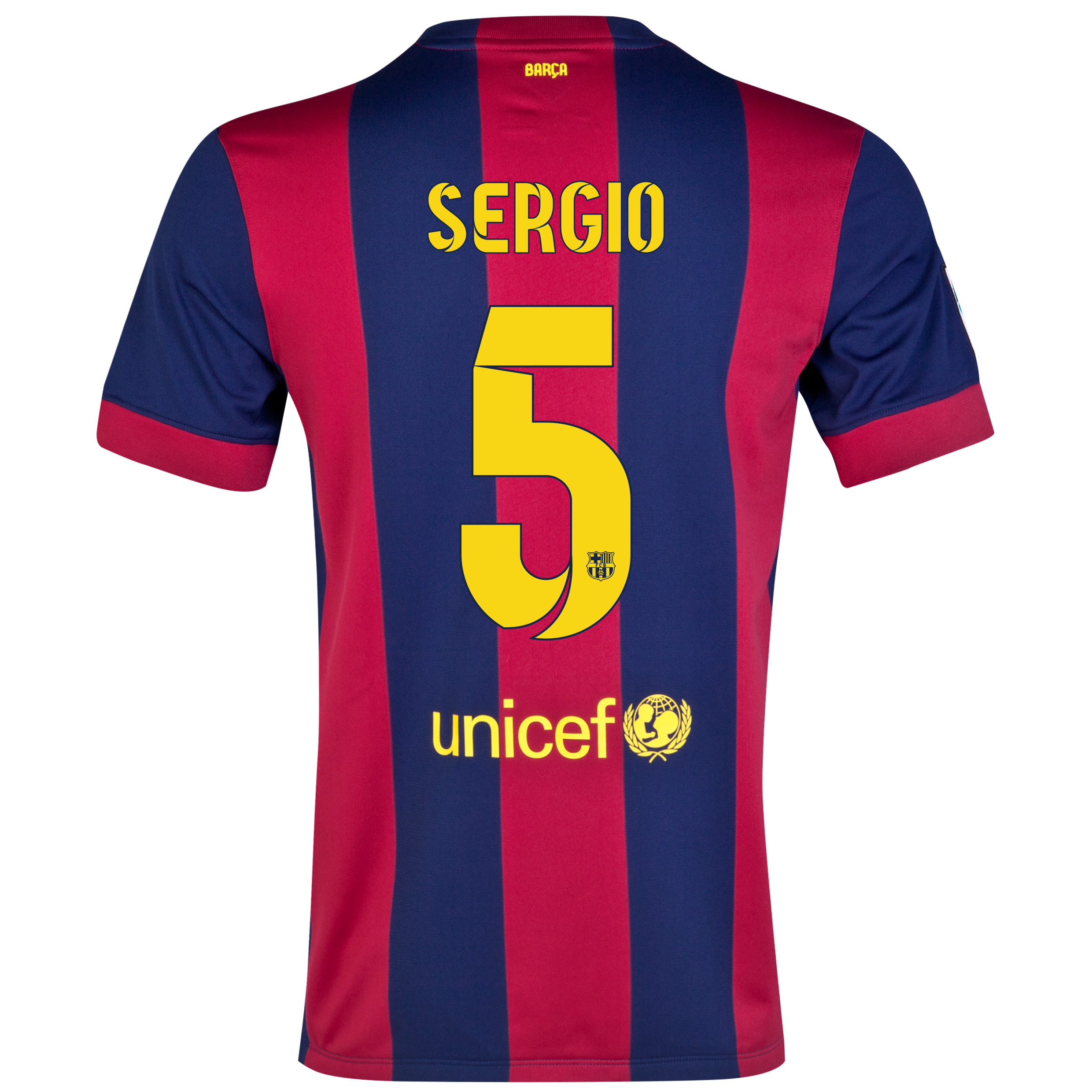 Barcelona Home Shirt 2014/15 - Kids Blue with Sergio 5 printing