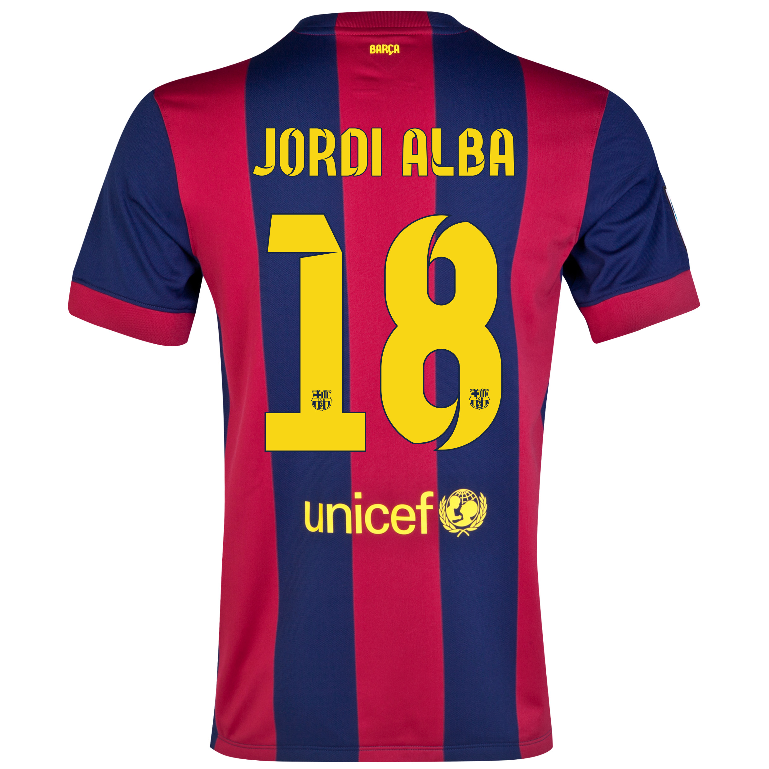 Barcelona Home Shirt 2014/15 - Kids Blue with Jordi Alba 18 printing