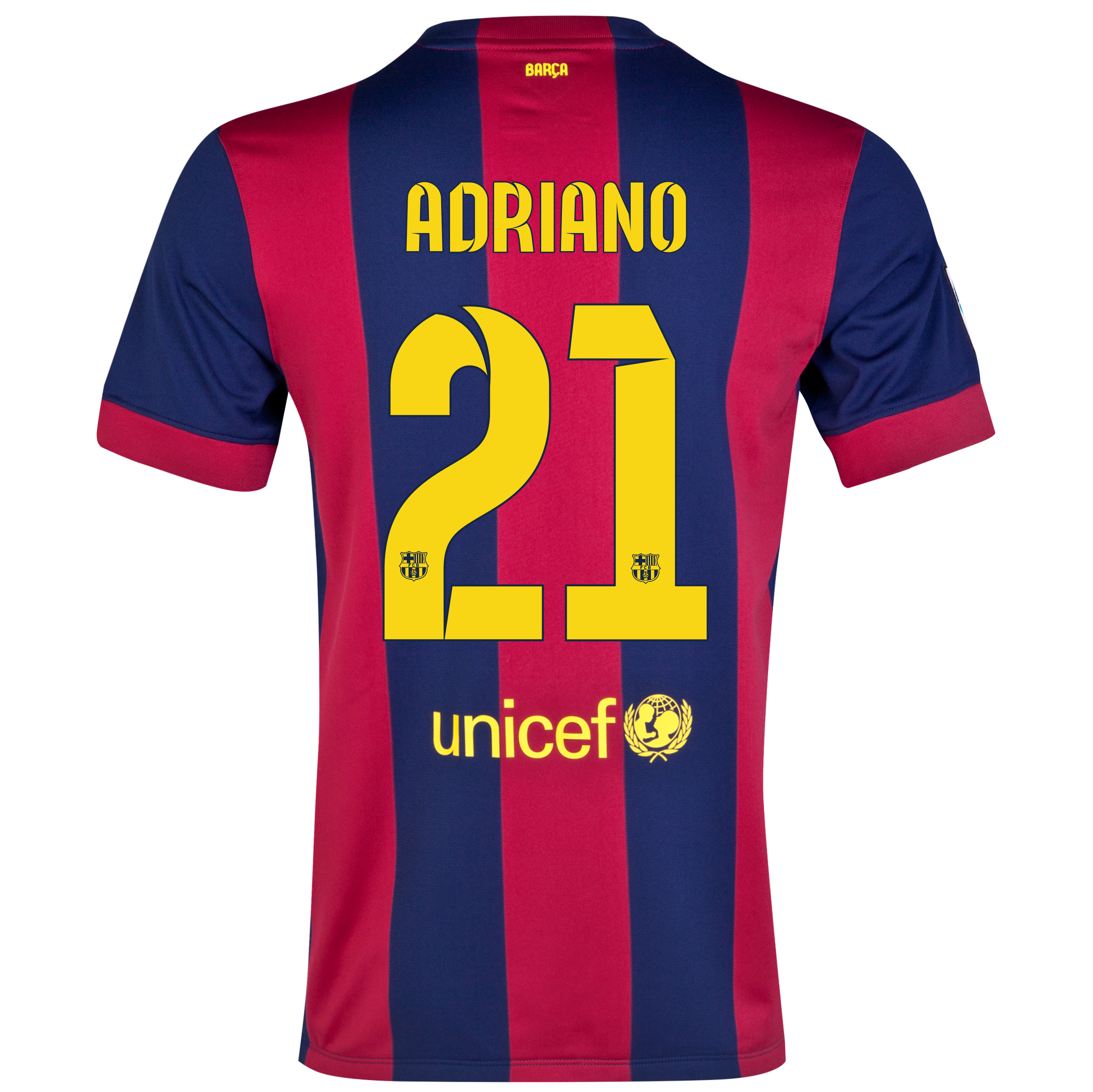 Barcelona Home Shirt 2014/15 - Kids Blue with Adriano 21 printing