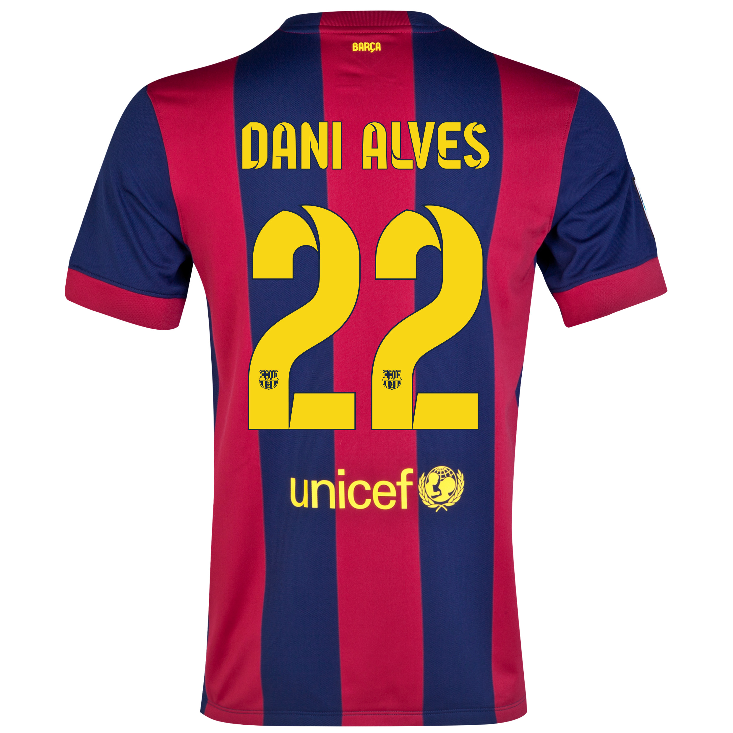 Barcelona Home Shirt 2014/15 - Kids Blue with Dani Alves 22 printing