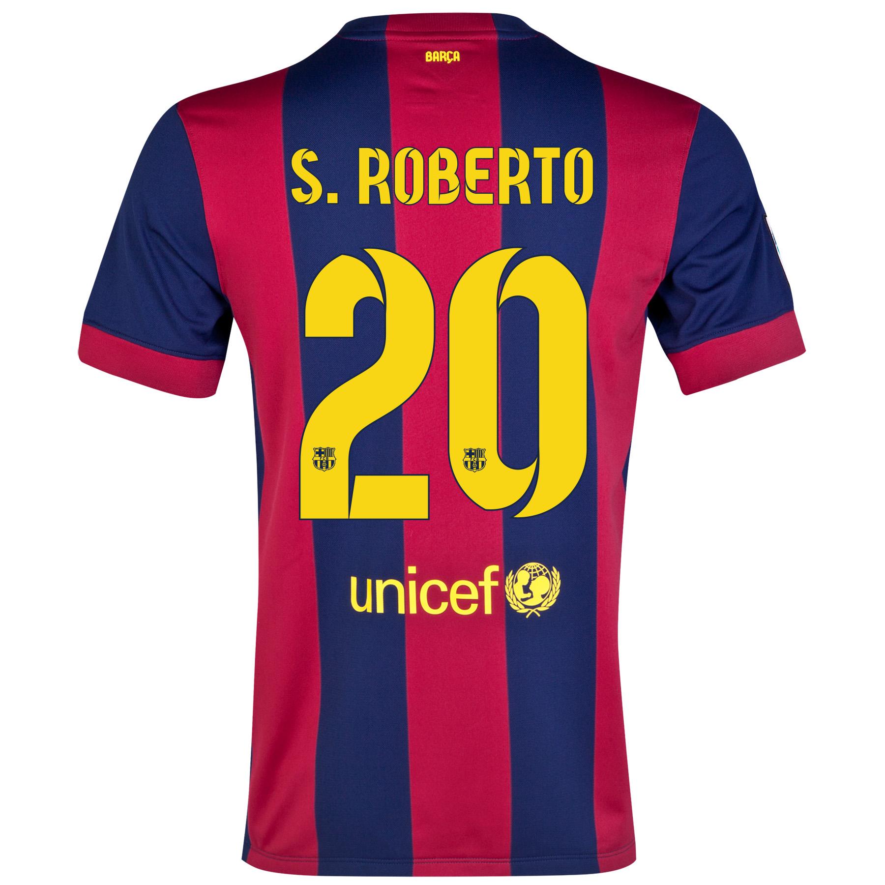 Barcelona Home Shirt 2014/15 - Kids Blue with S.Roberto 20 printing