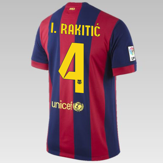 Barcelona Home Shirt 2014/15 - Kids Blue with Rakitic 4 printing