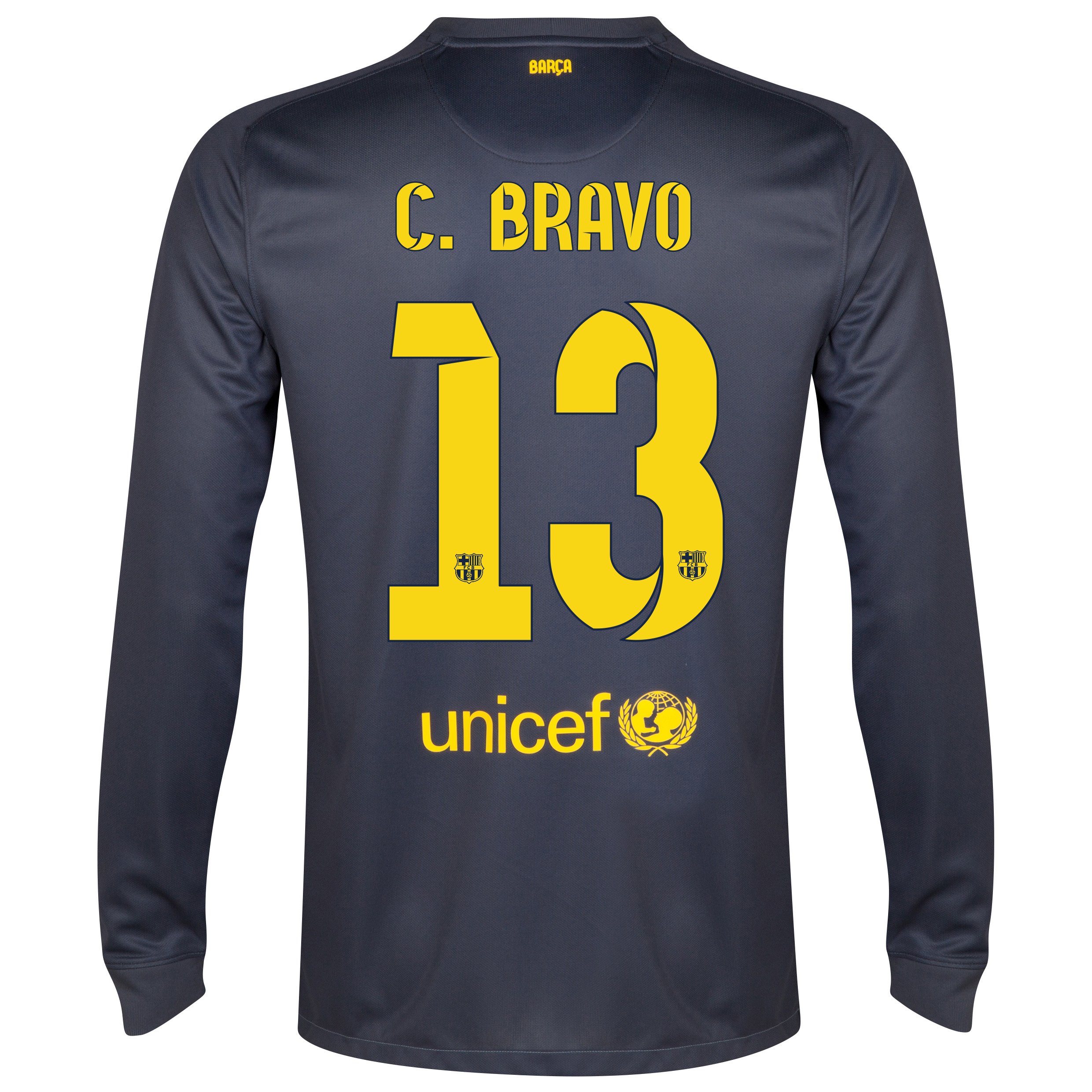 Barcelona Goalkeeper Shirt 2014/15 - Kids Black with C.Bravo 13 printing