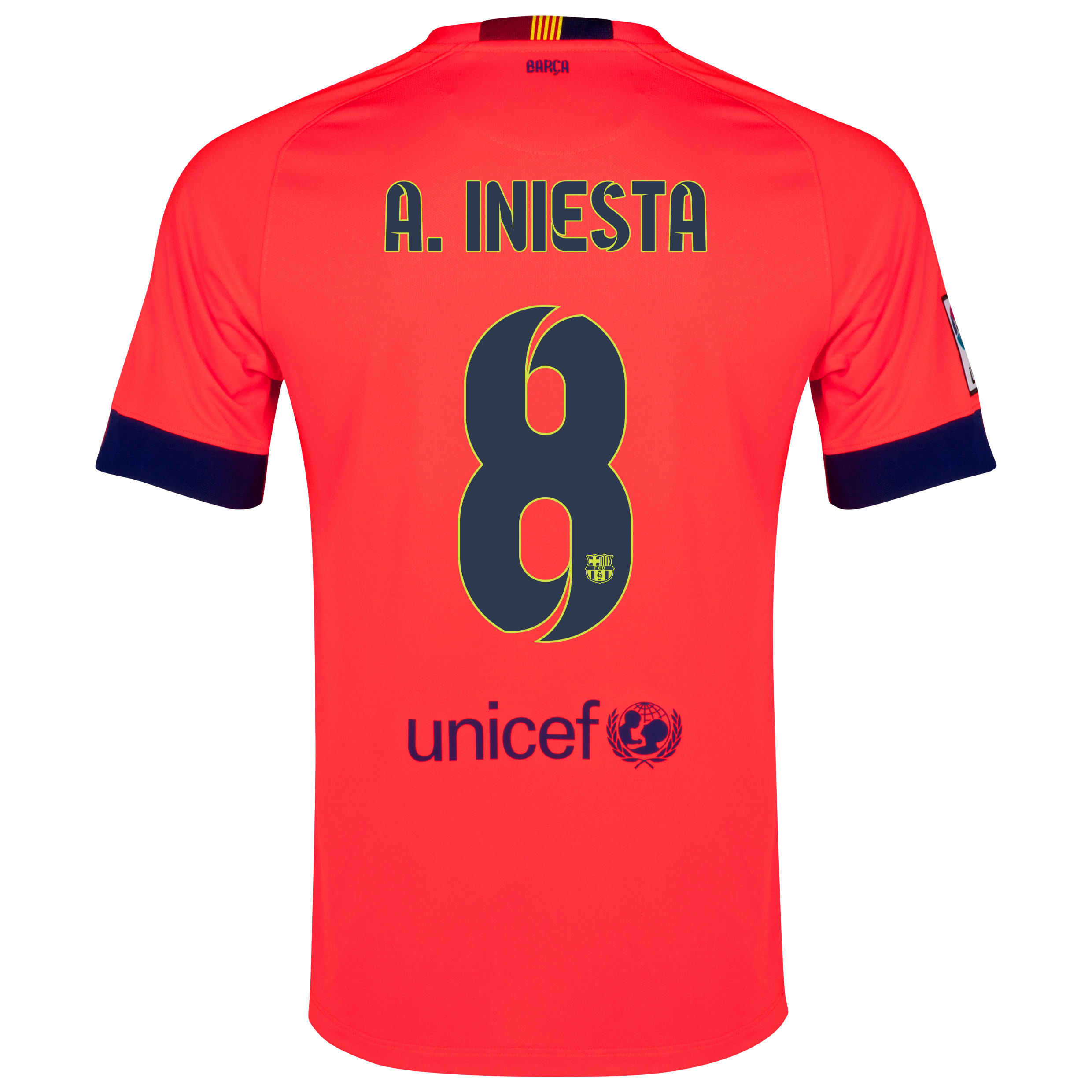 Barcelona Away Shirt 2014/15 Red with A. Iniesta  8 printing