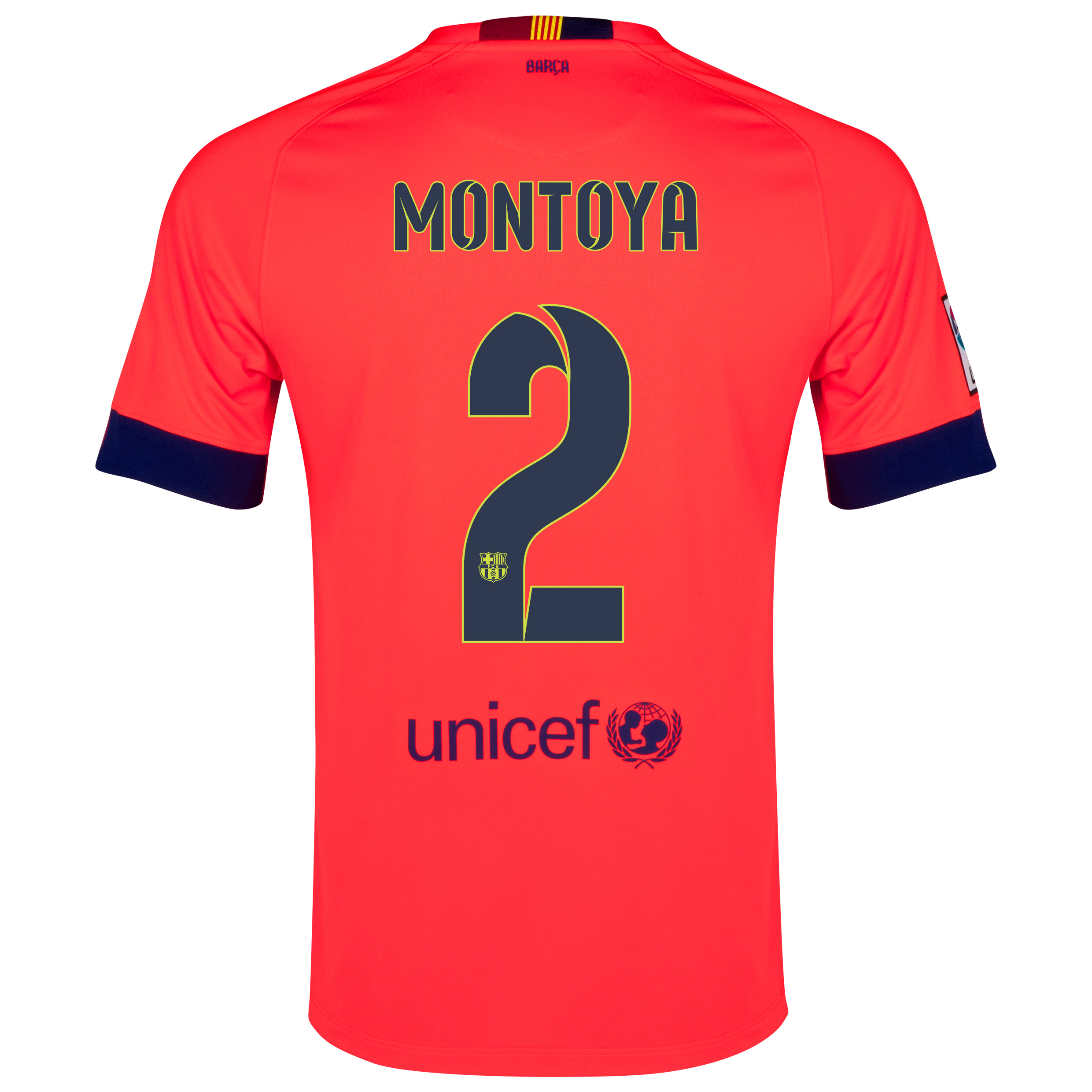 Barcelona Away Shirt 2014/15 - Kids Red with Montoya 2 printing