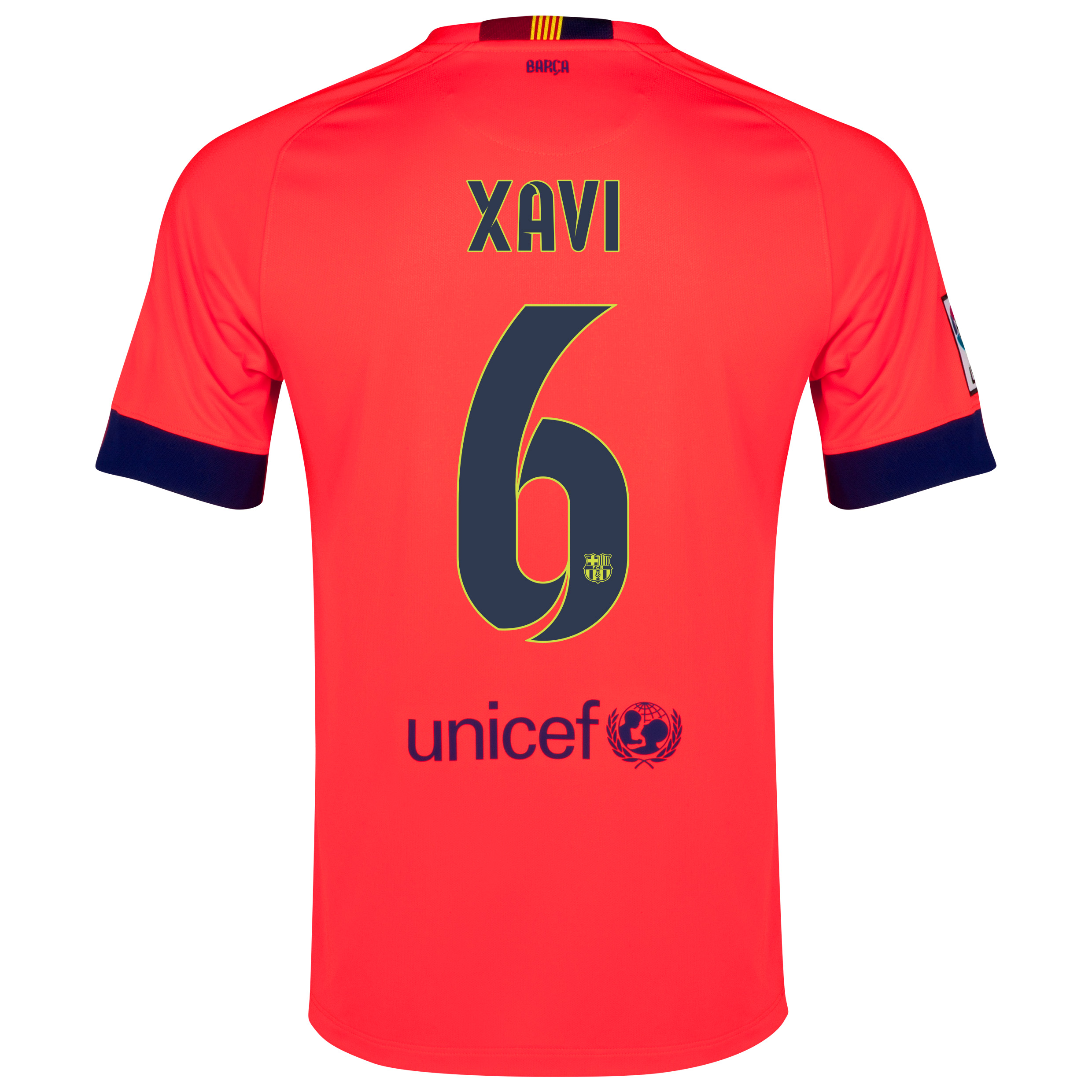Barcelona Away Shirt 2014/15 - Kids Red with Xavi 6 printing