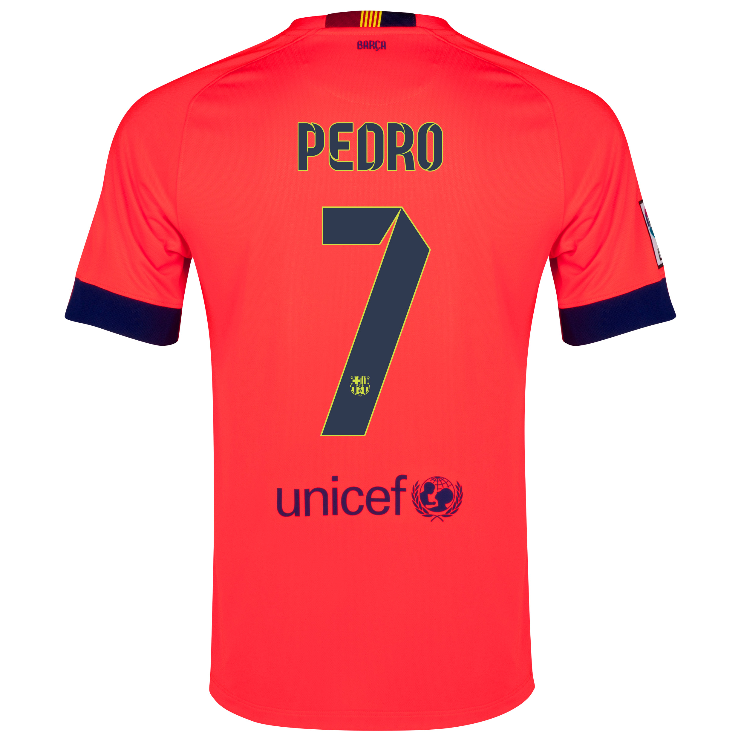 Barcelona Away Shirt 2014/15 - Kids Red with Pedro 7 printing