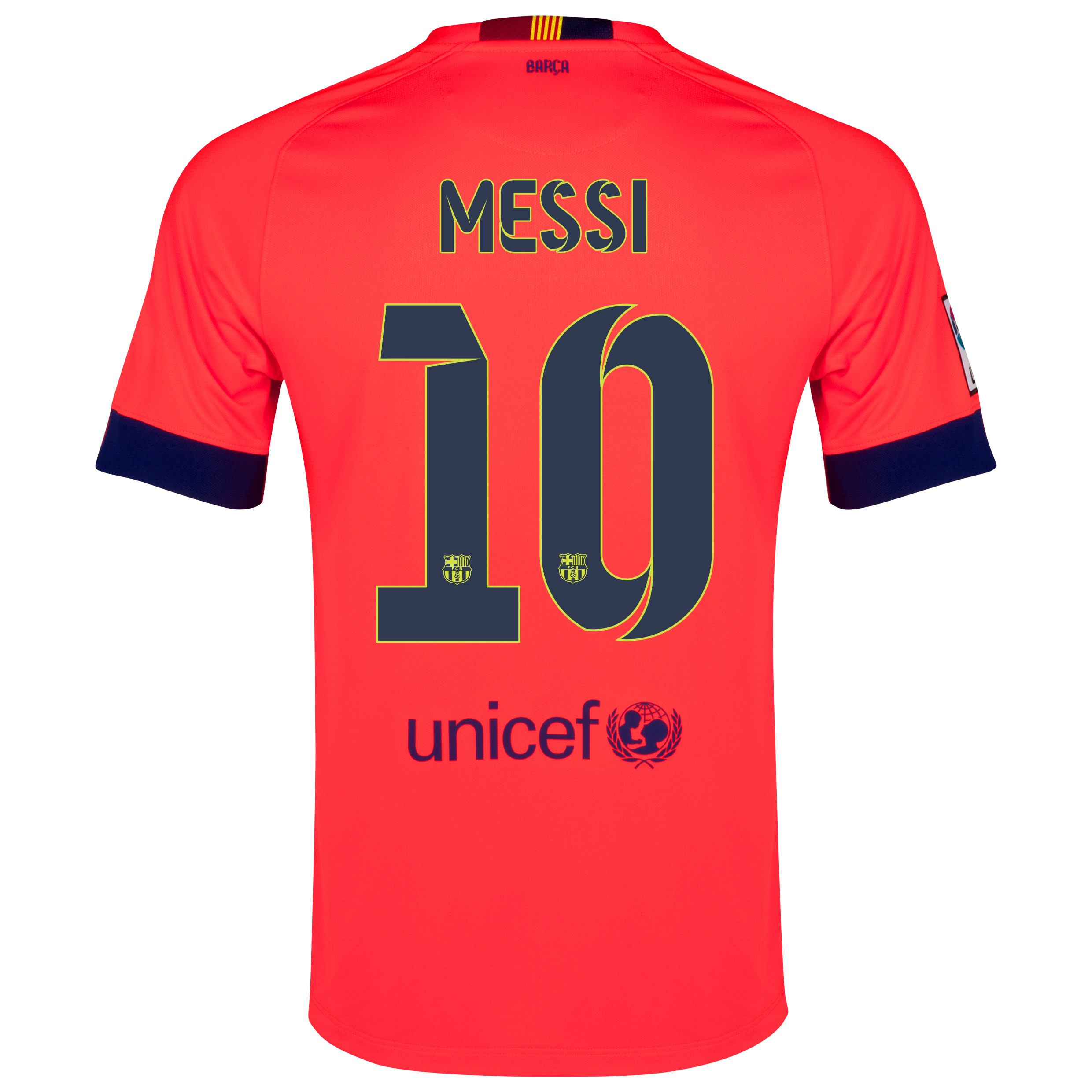 Barcelona Away Shirt 2014/15 - Kids Red with Messi 10 printing