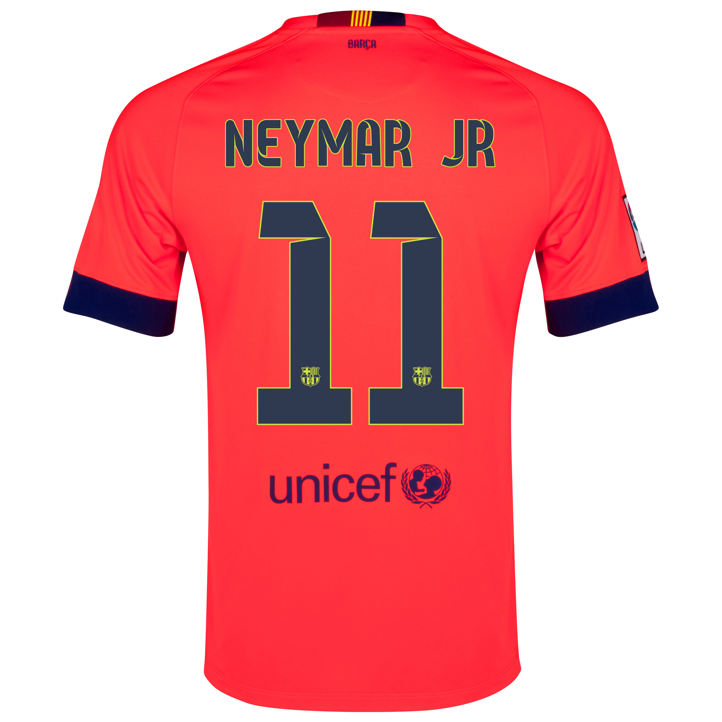 Barcelona Away Shirt 2014/15 - Kids Red with Neymar Jr 11 printing