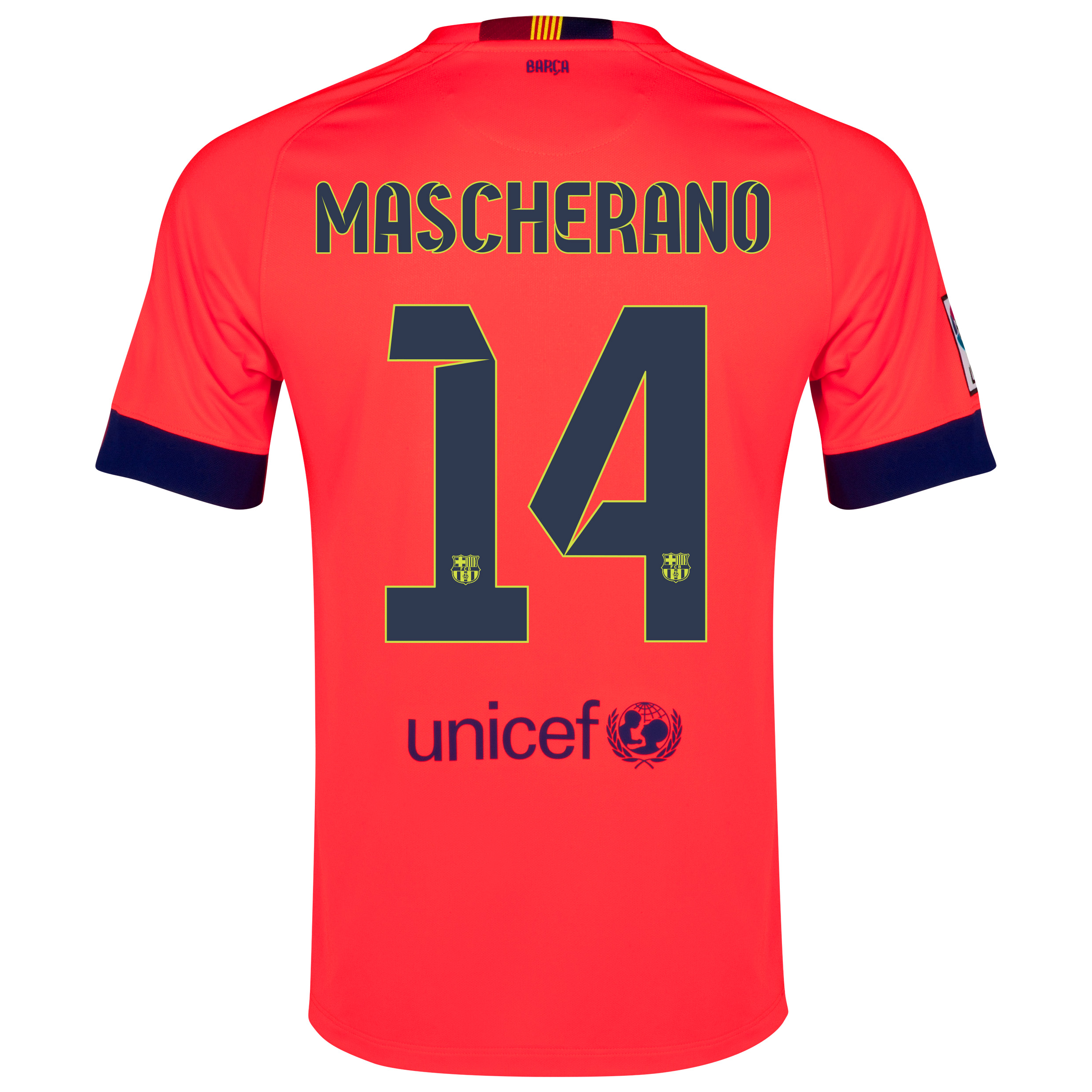 Barcelona Away Shirt 2014/15 - Kids Red with Mascherano 14 printing
