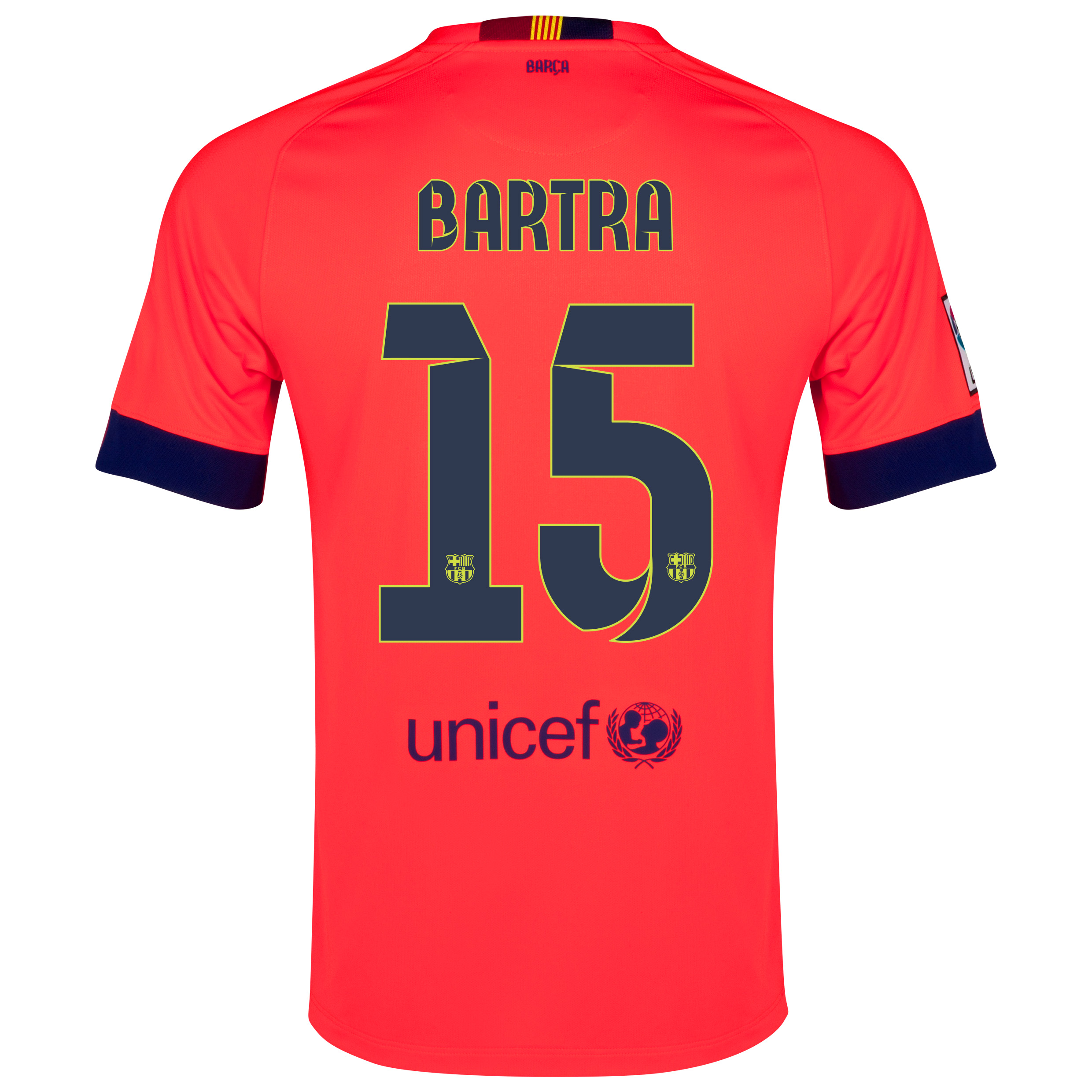 Barcelona Away Shirt 2014/15 - Kids Red with Bartra 15 printing