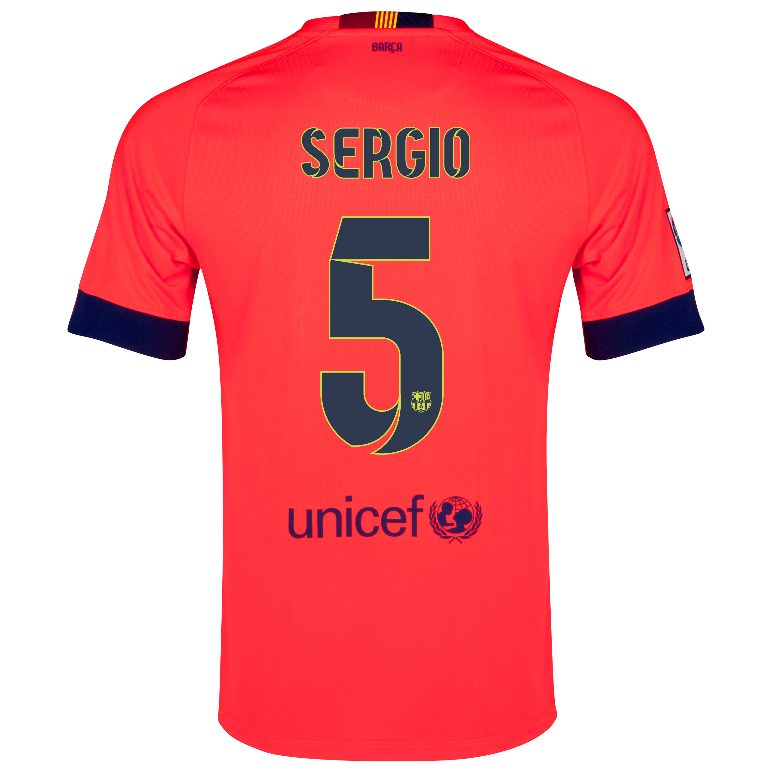Barcelona Away Shirt 2014/15 - Kids Red with Sergio 5 printing