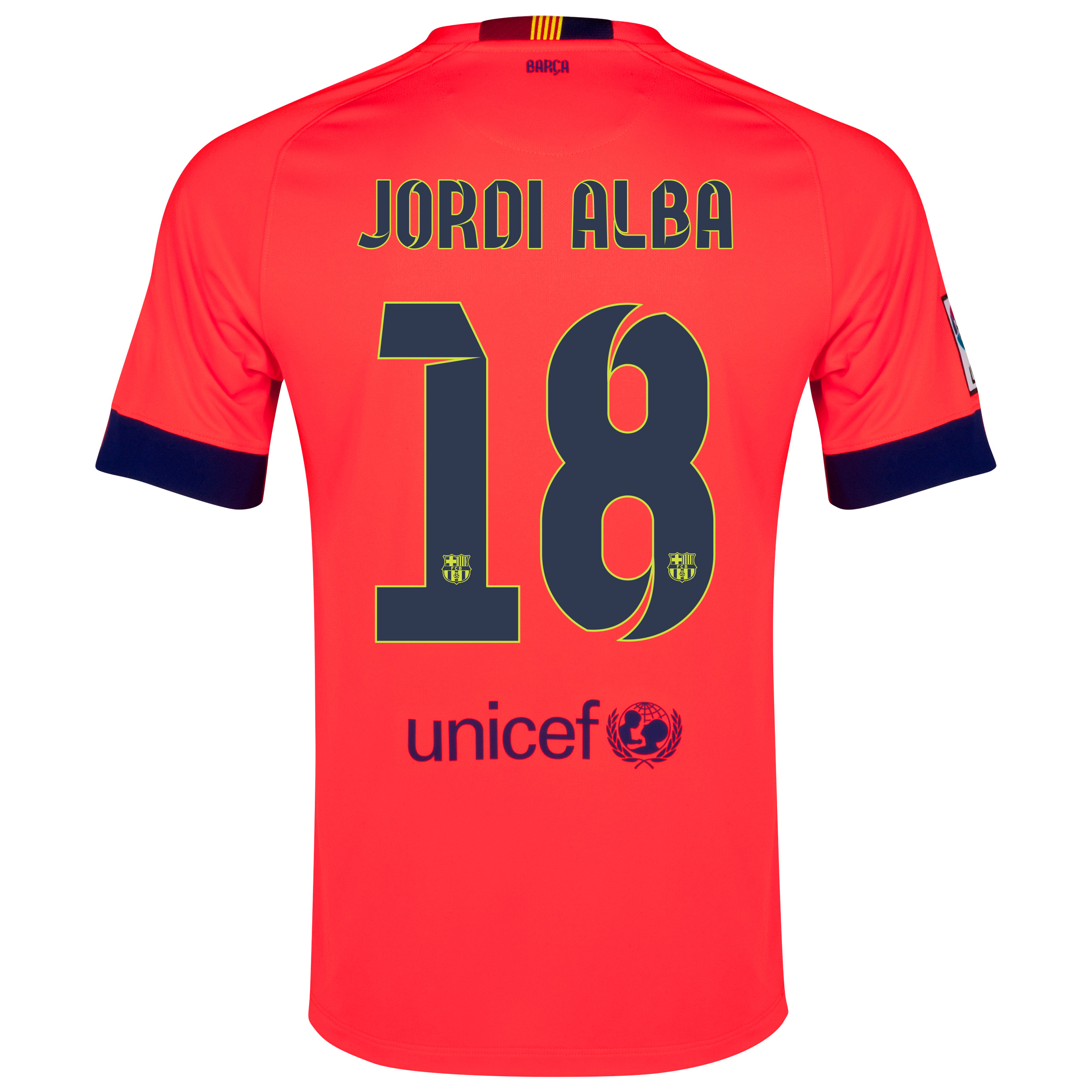 Barcelona Away Shirt 2014/15 - Kids Red with Jordi Alba 18 printing