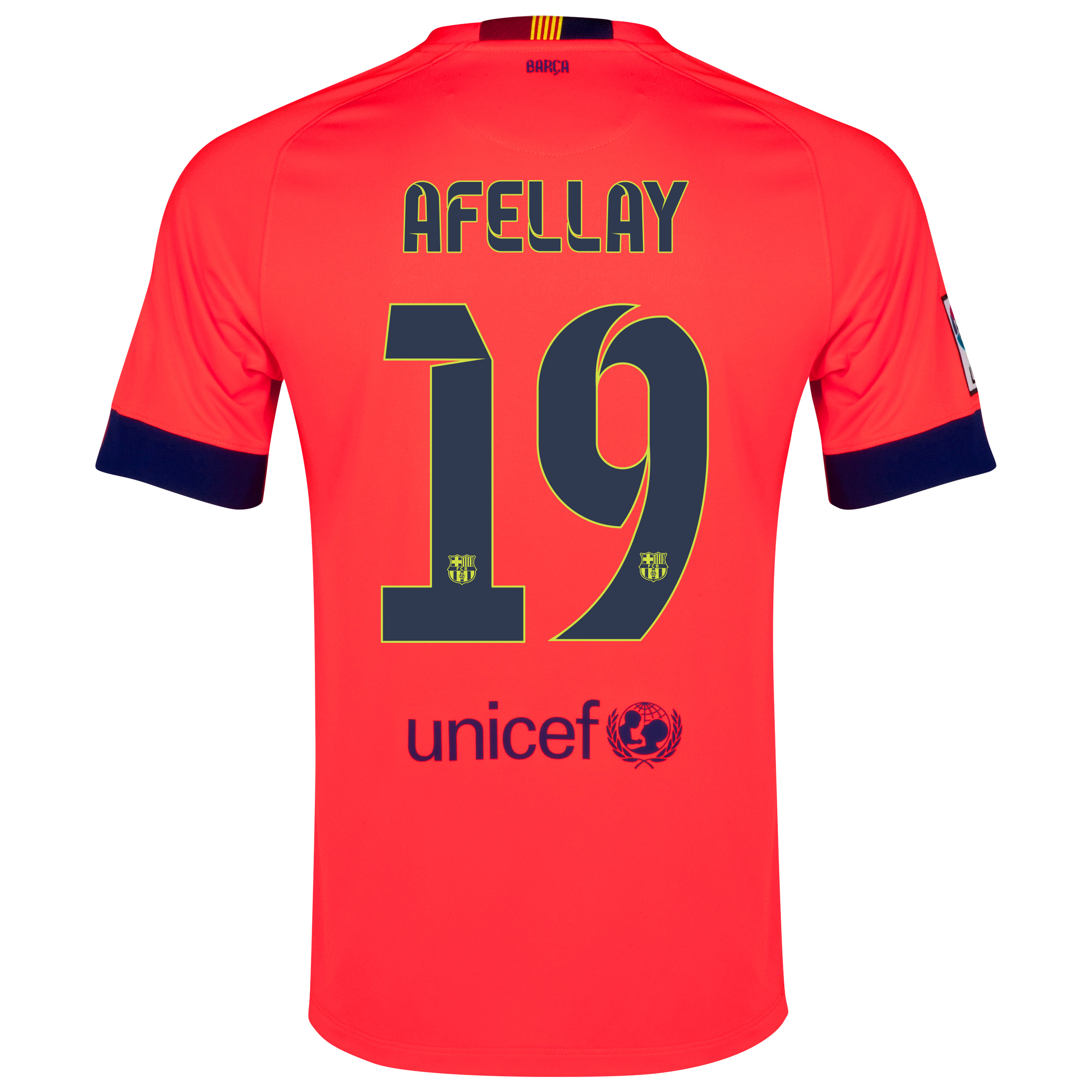 Barcelona Away Shirt 2014/15 - Kids Red with Afellay 19 printing