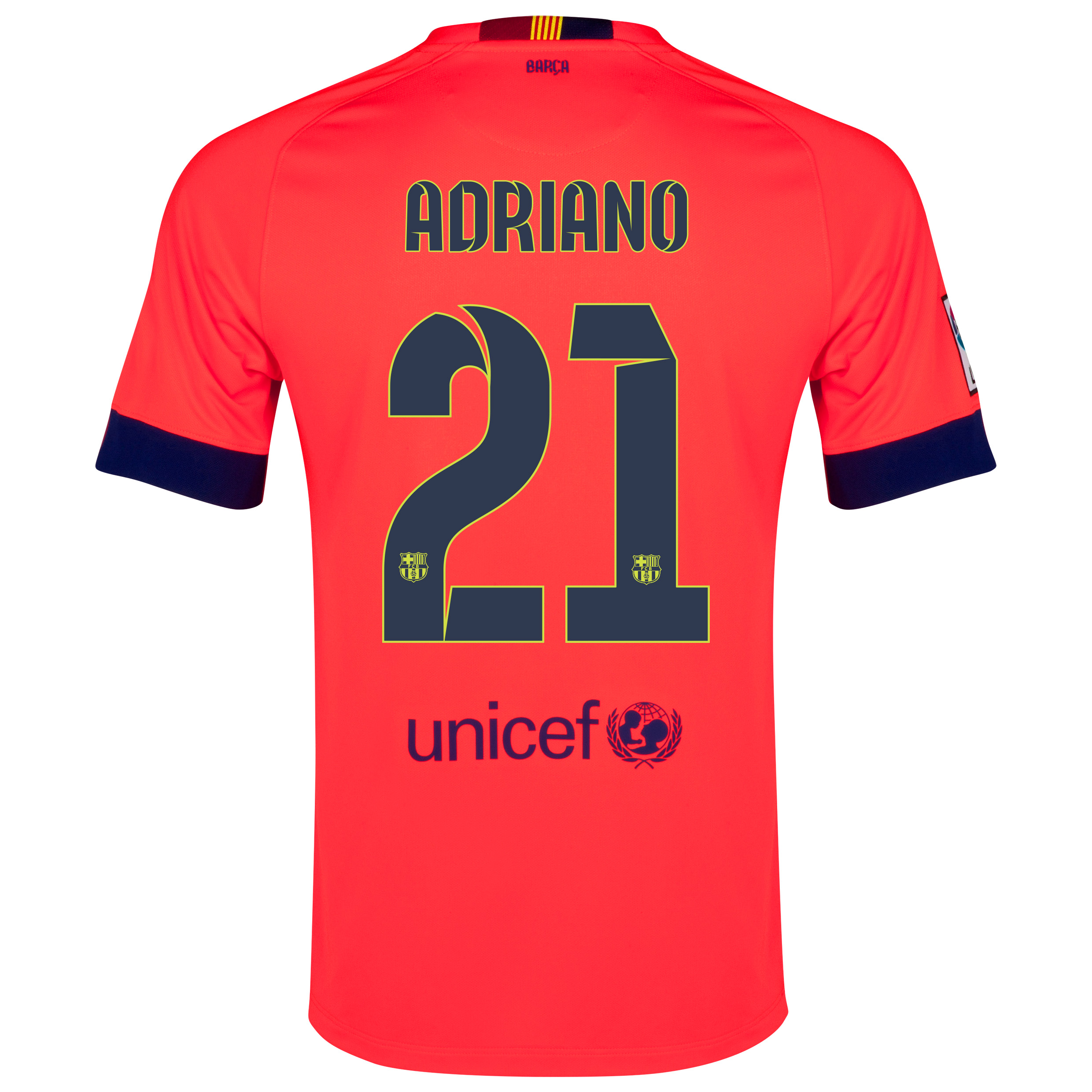 Barcelona Away Shirt 2014/15 - Kids Red with Adriano 21 printing