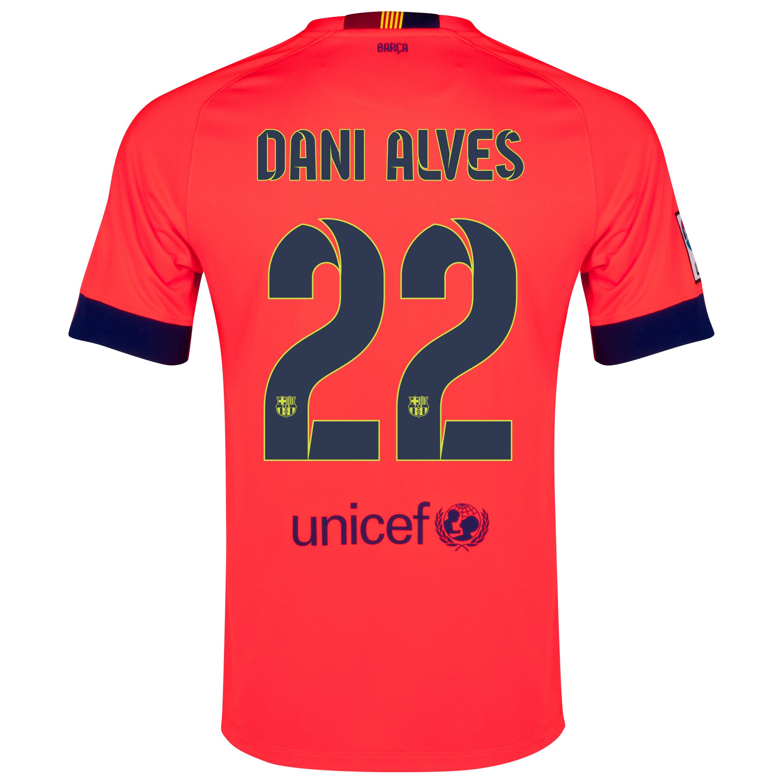 Barcelona Away Shirt 2014/15 - Kids Red with Dani Alves 22 printing